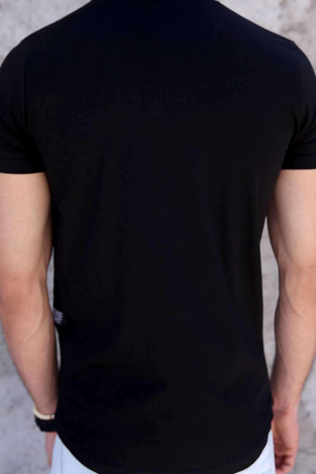 Önü Kabartma Avantgarde Yazılı Slim Fit Tişört Siyah