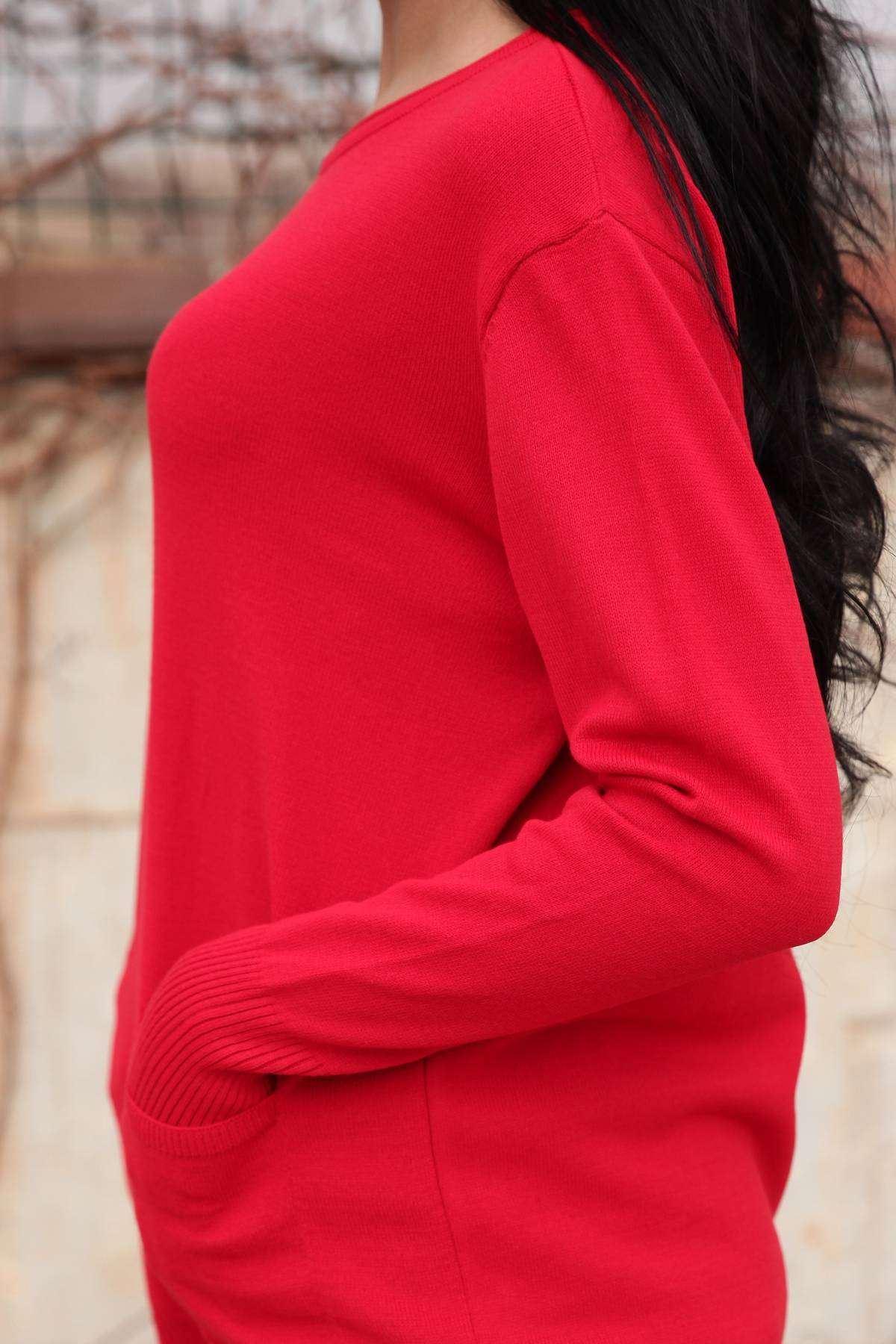 Önü Kısa Arkası Uzun Cep Detaylı Sıfır Yaka Tunik Kırmızı