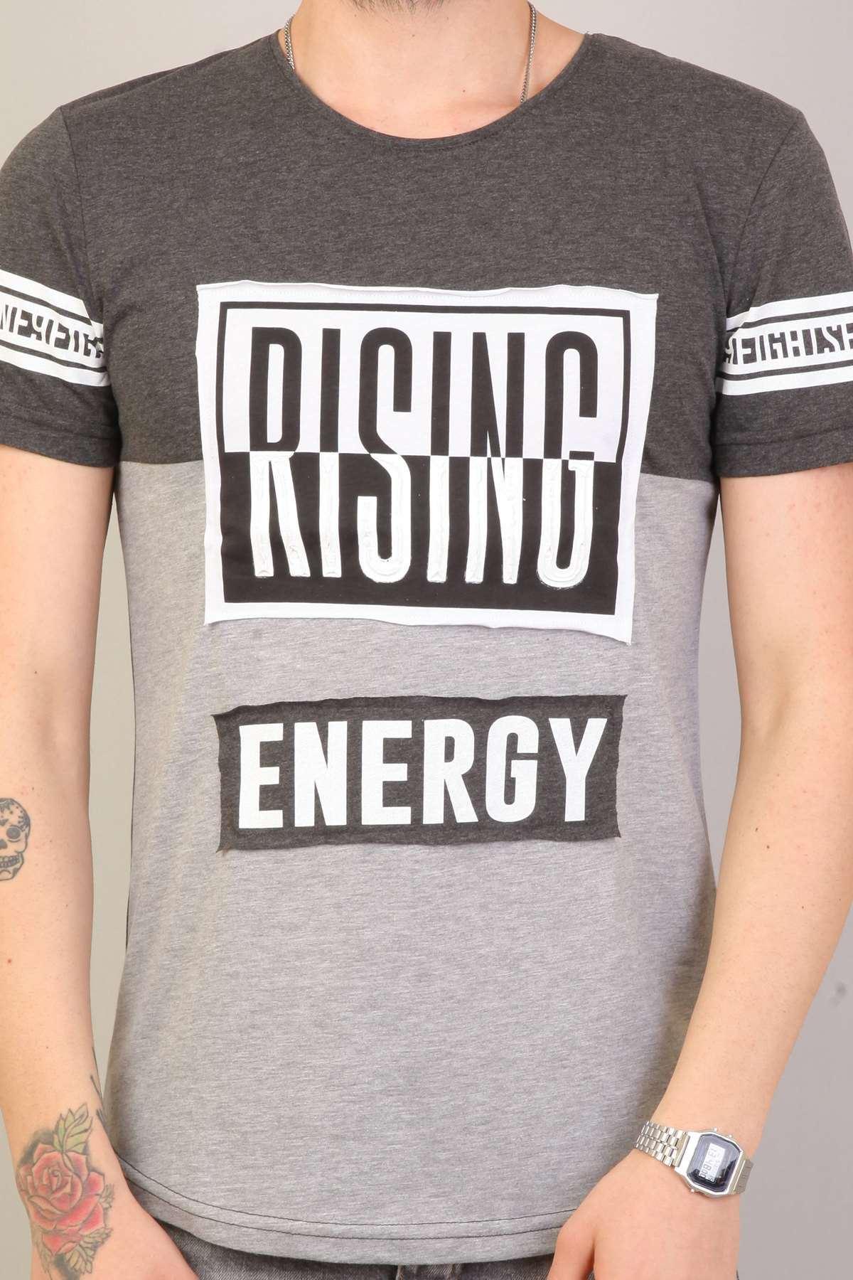 Önü Rising Kabartma Baskılı Sıfır Yaka Tişört Antra-Gri