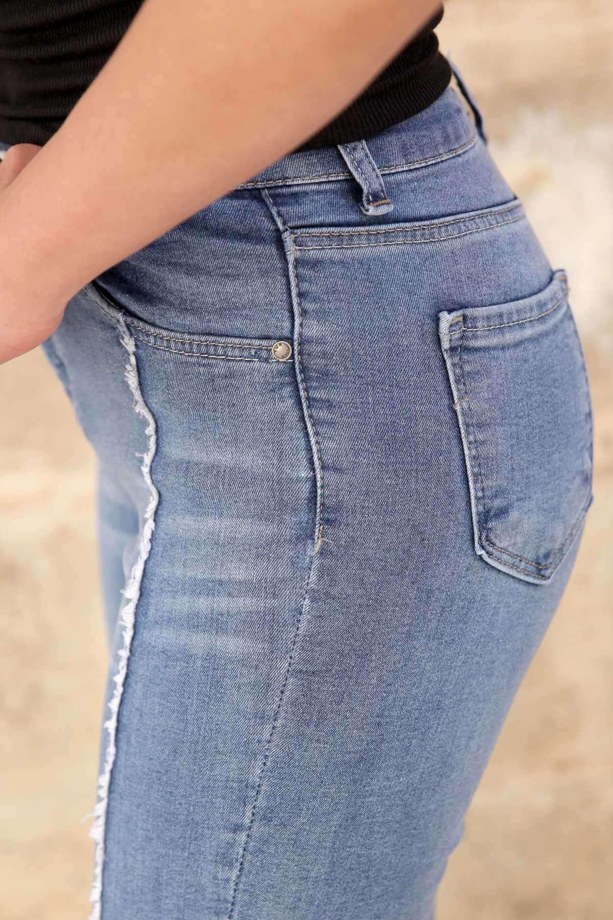 Önü Parçalı Paça Püsküllü Kesikli Kot Pantolon Mavi