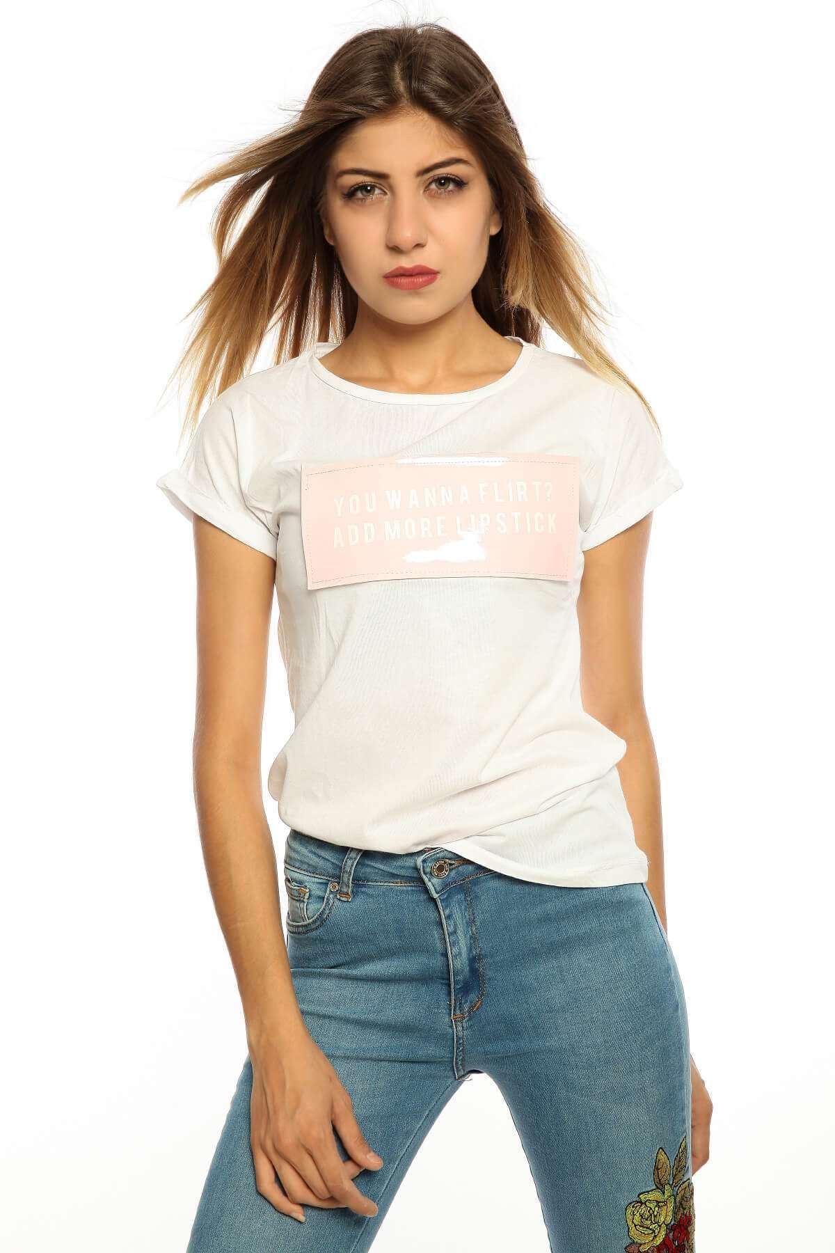 Önü Slikon Geniş Yaka Tişört Byz-Pempe