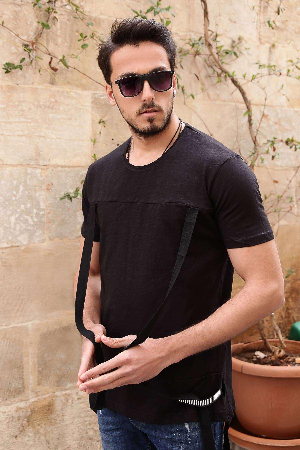 Önü Sarkıtma Şeritli Yanları Yırtmaçlı Slim Fit Tişört Siyah