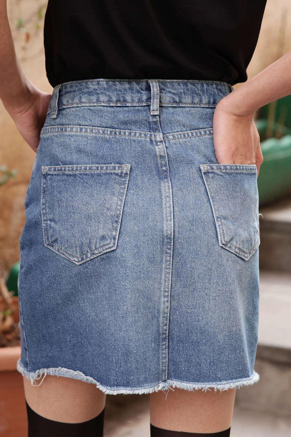 Önü Lazer Yırtıklı Çift Cep Detaylı Mini Etek Mavi