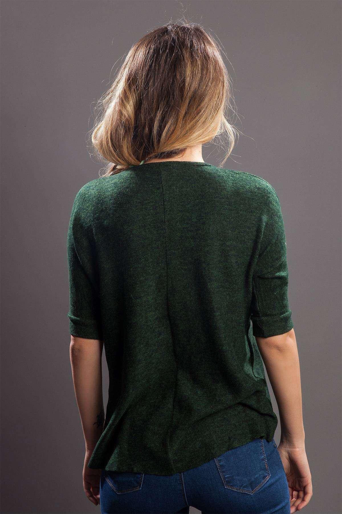 Önü Kısa Arkası Uzun Sıfır Yaka Bluz K.Yeşil