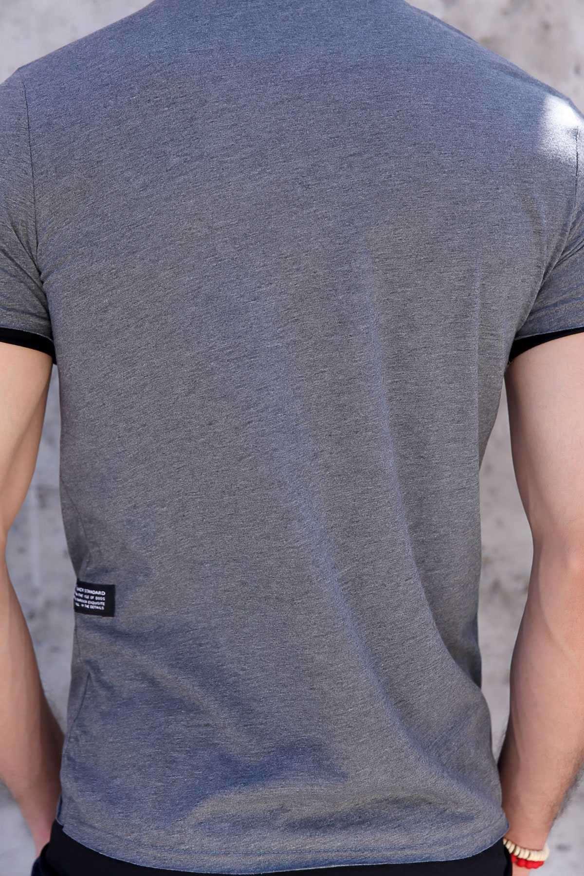 Önü Taşlı Shadow Yazılı Altı Ve Kolu Astarlı Tişört Antrasit