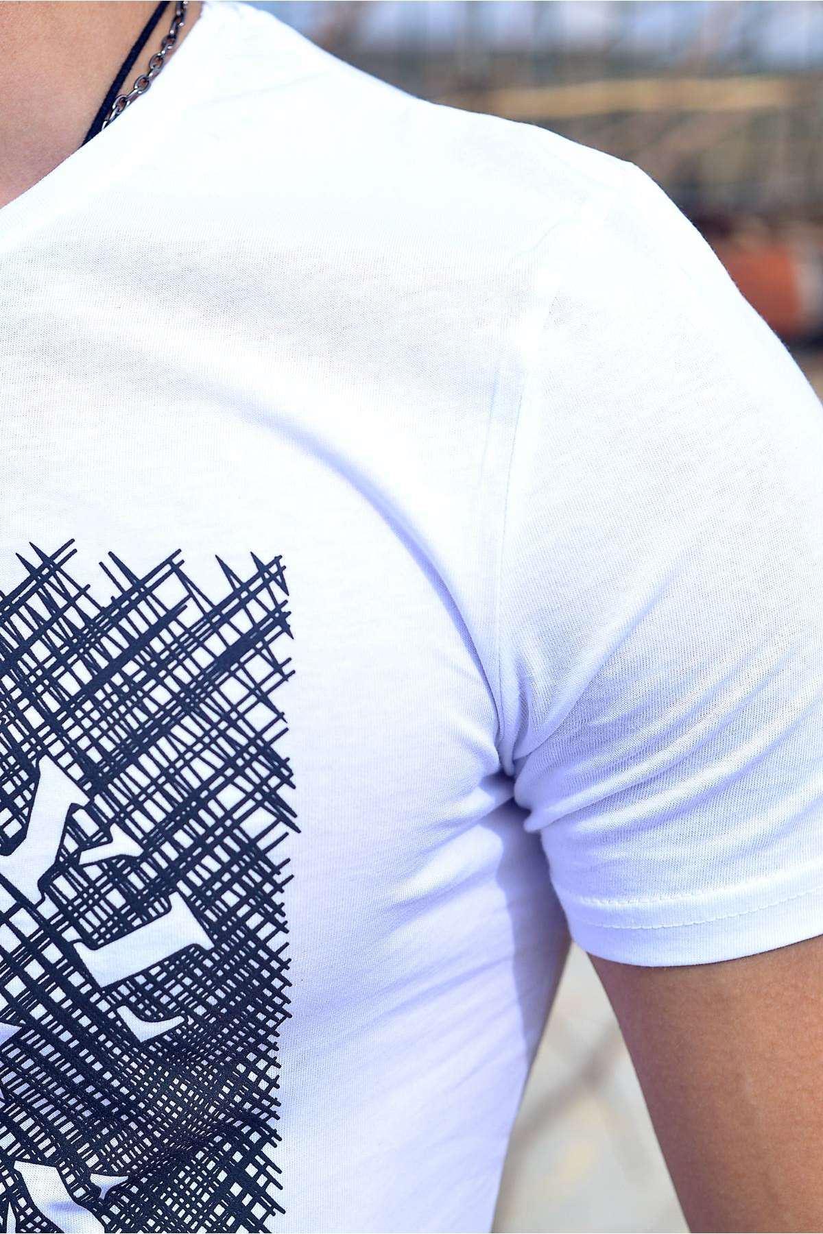 Önü Machinist Kabartma Yıldız Desenli Tişört Beyaz