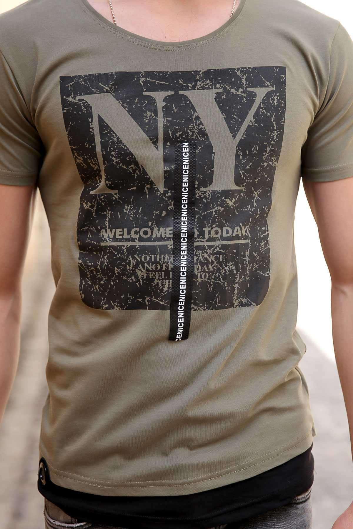 Önü Ny Yazı Baskılı Sıfır Yaka Slim Fit Tişört Haki