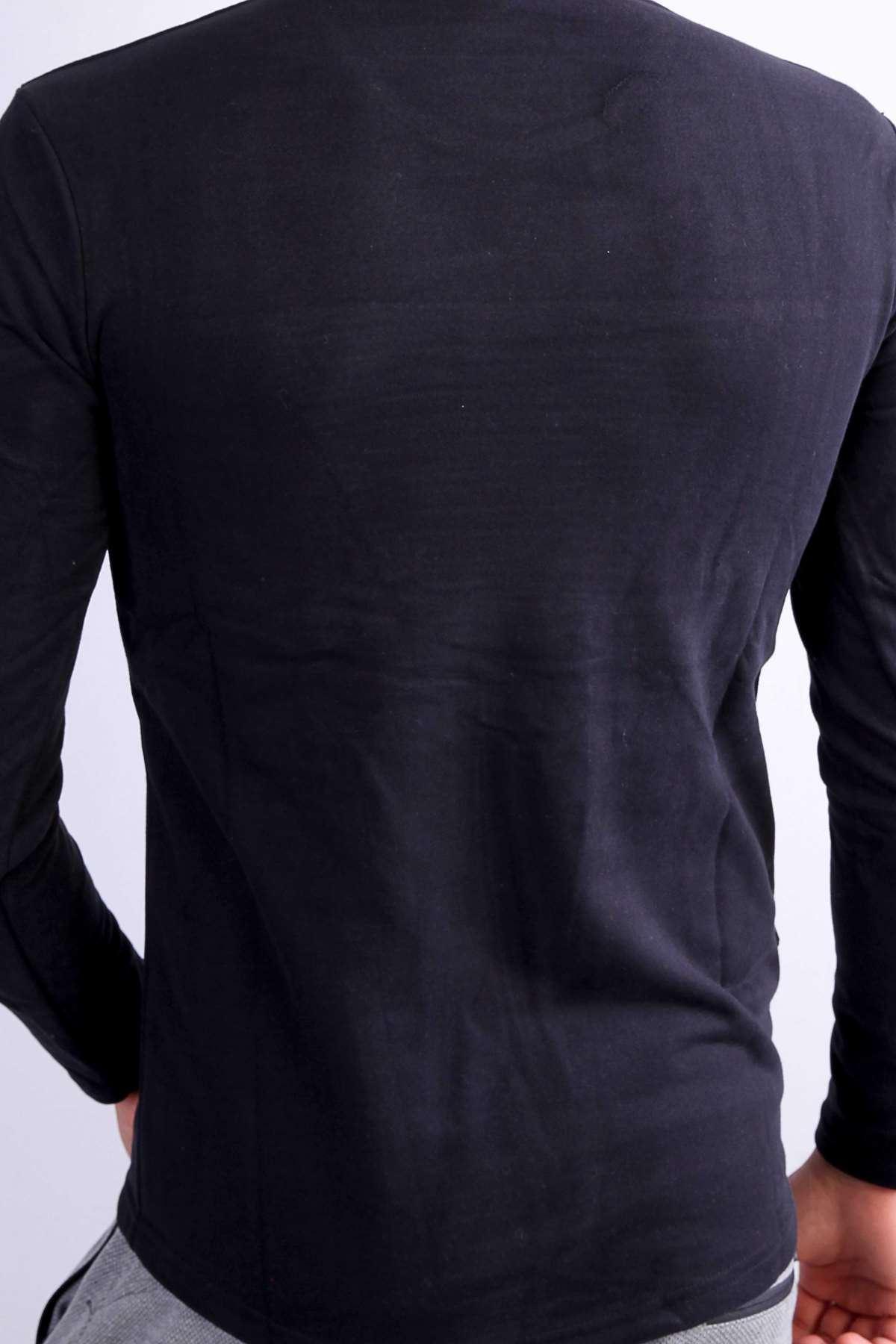 Önü Nervürlü Sweatshirt Siyah
