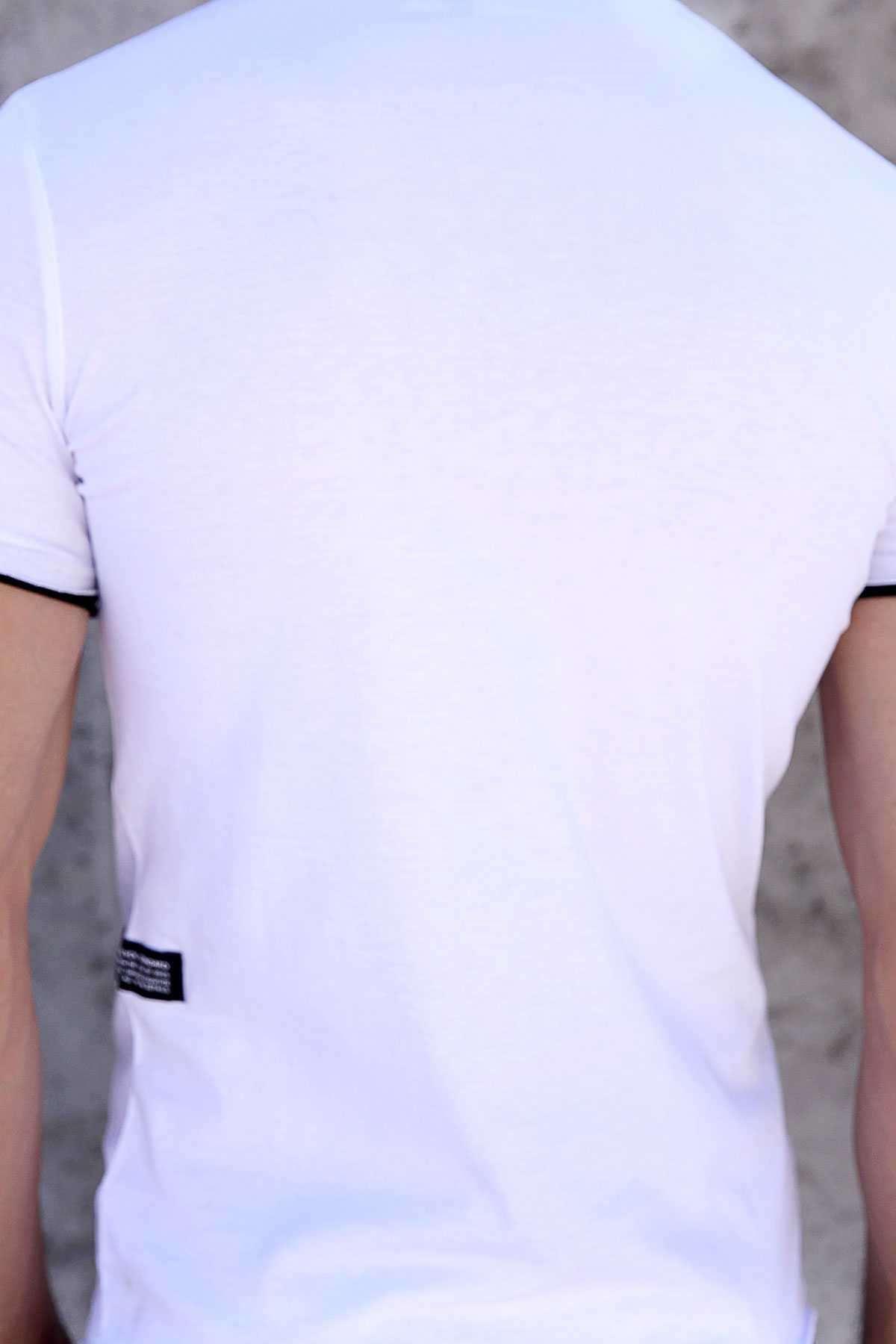 Önü Taşlı Shadow Yazılı Altı Ve Kolu Astarlı Tişört Beyaz