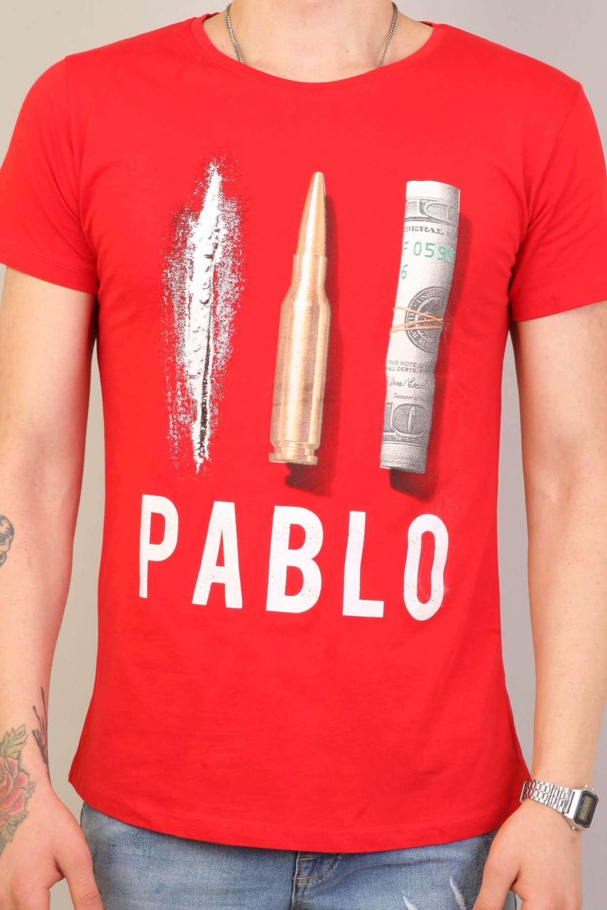 Pablo Yazılı Resim Baskılı Simit Yaka Tişört Kırmızı