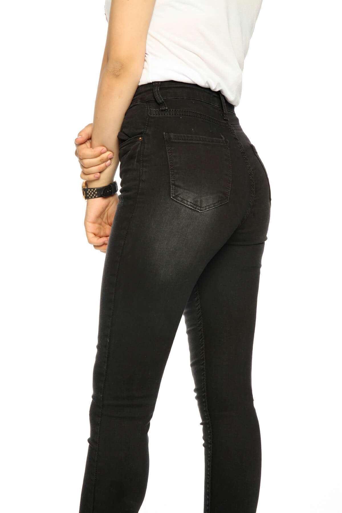 Paçası Yırtmaç Halkalı Eskitme Kot Pantolon Siyah
