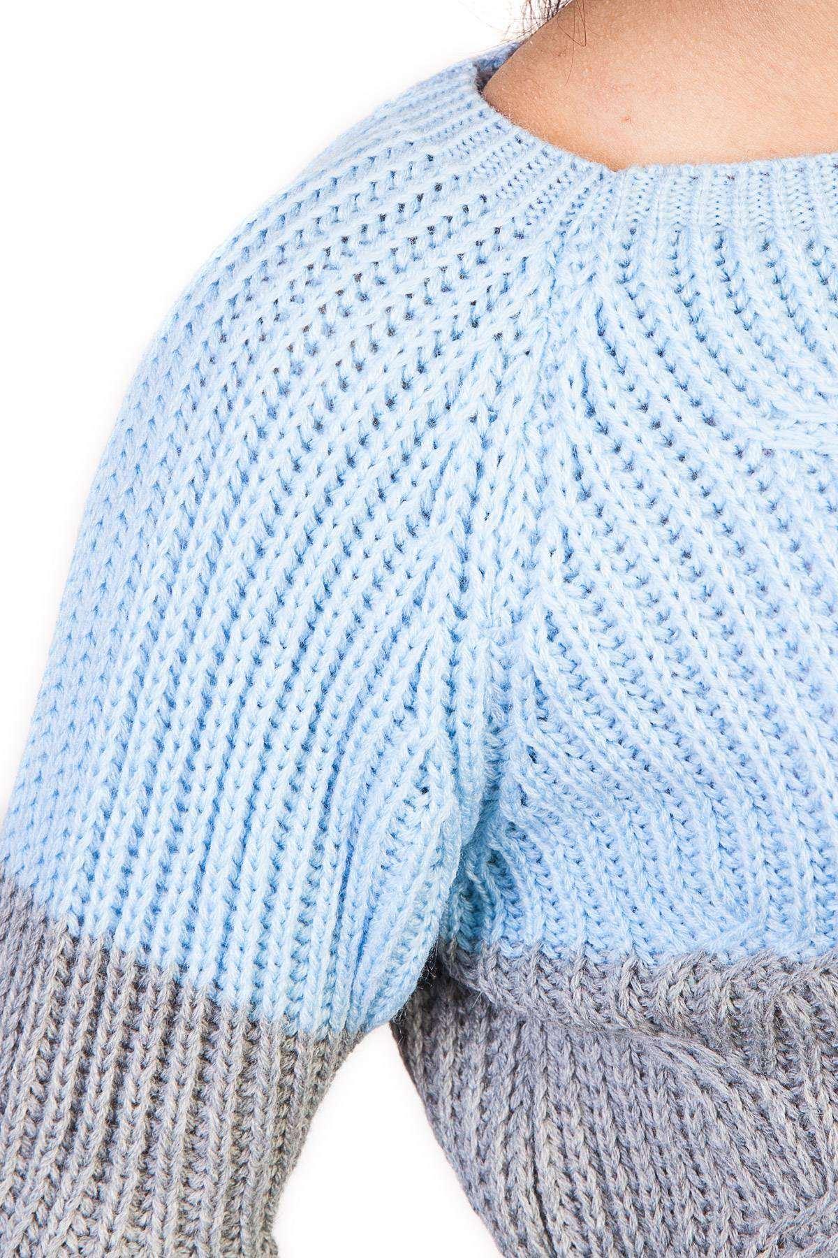 Örme Desen Detaylı İki Renk Triko Mavi