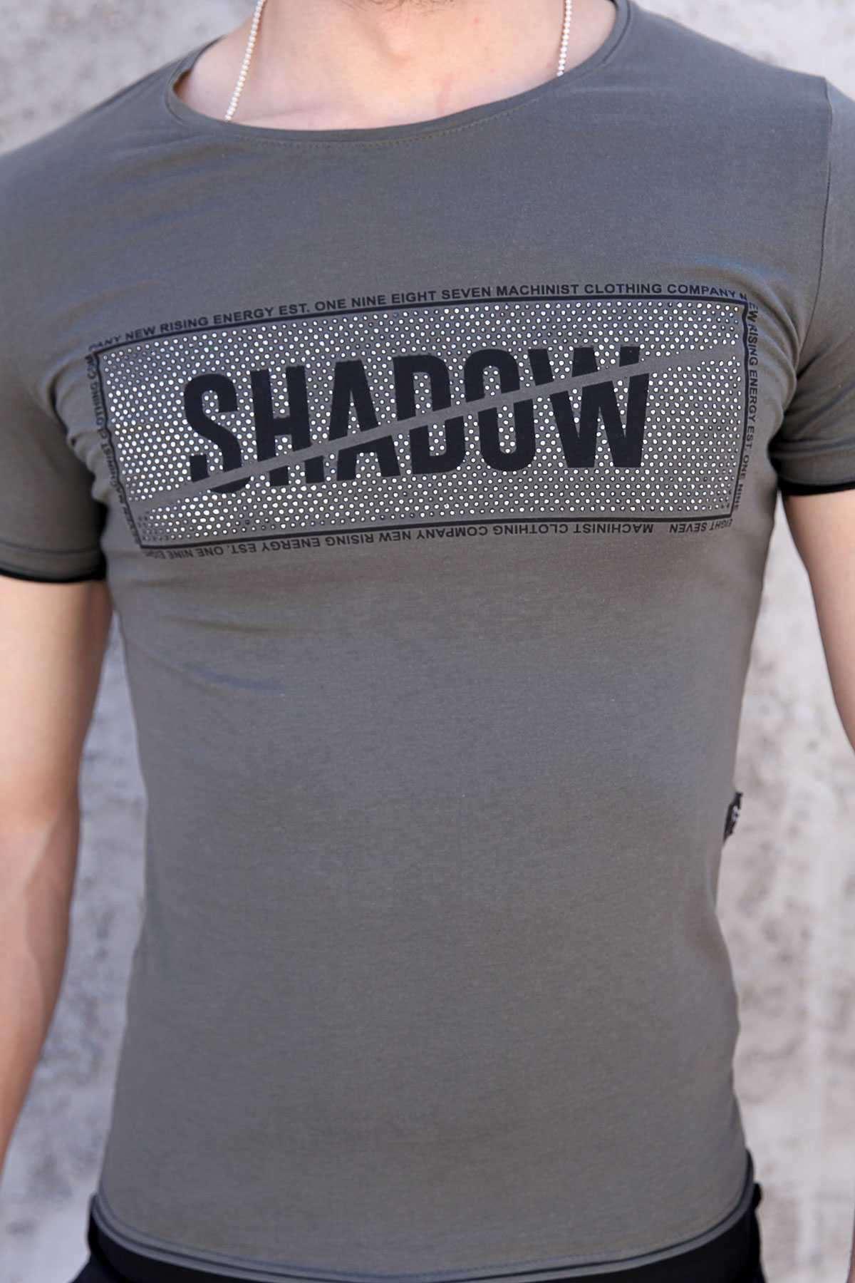 Önü Taşlı Shadow Yazılı Altı Ve Kolu Astarlı Tişört Haki
