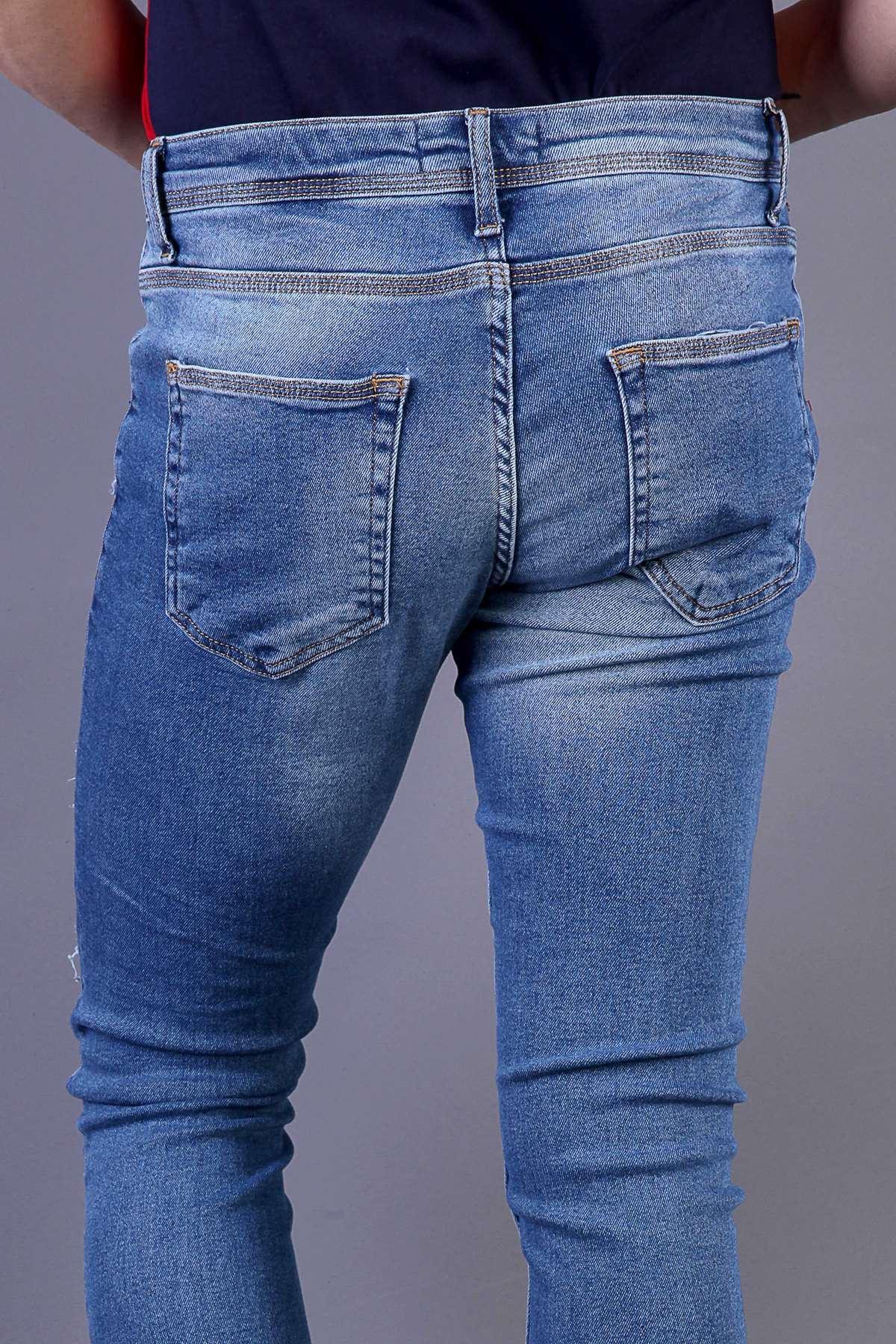 Paça Yazılı İp Yamalı Bilek Boy Slim Fit Kot Pantolon Mavi