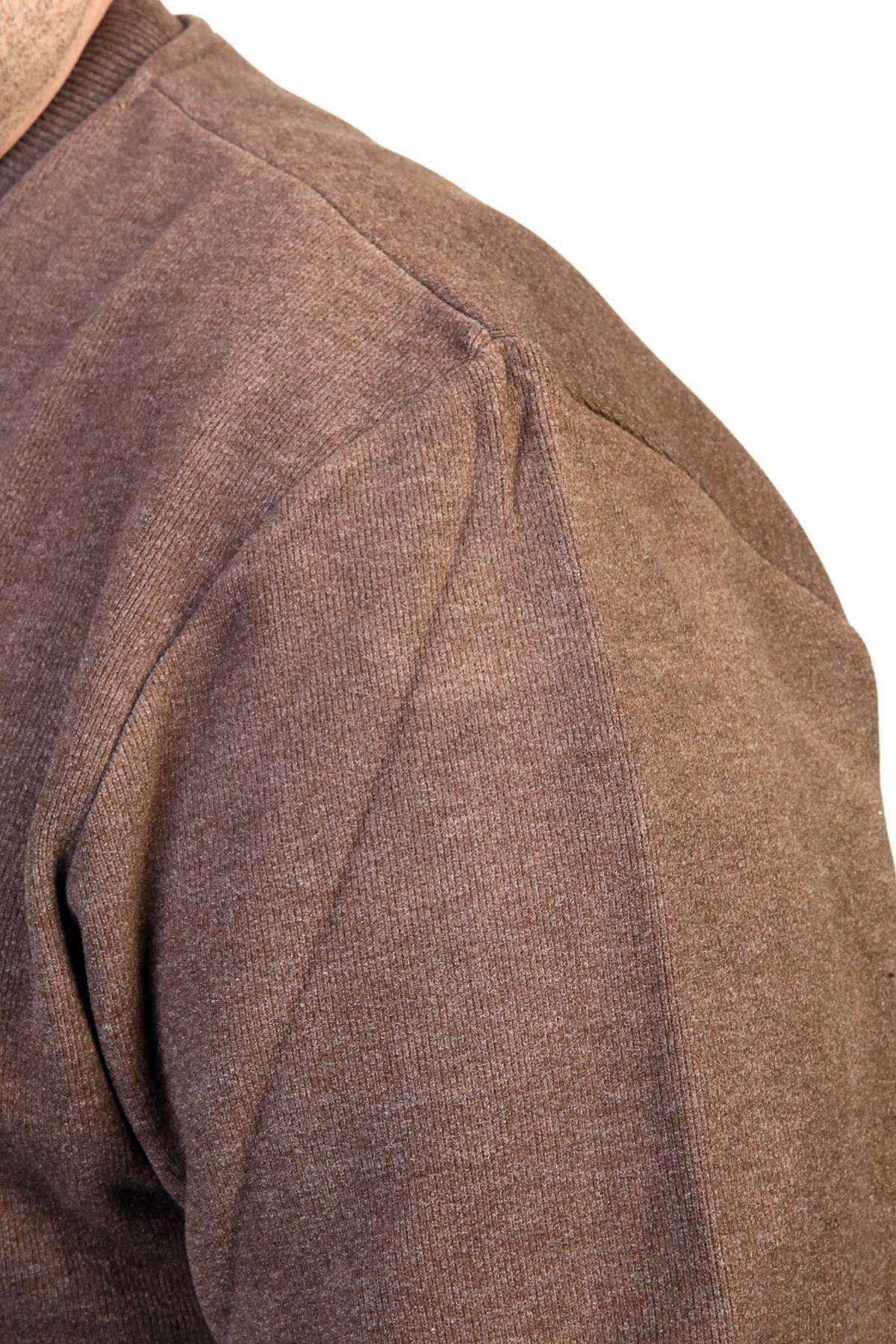 Önü Yazılı Bisiklet Yaka Selanik Süper Battal Sweatshirt Kahve