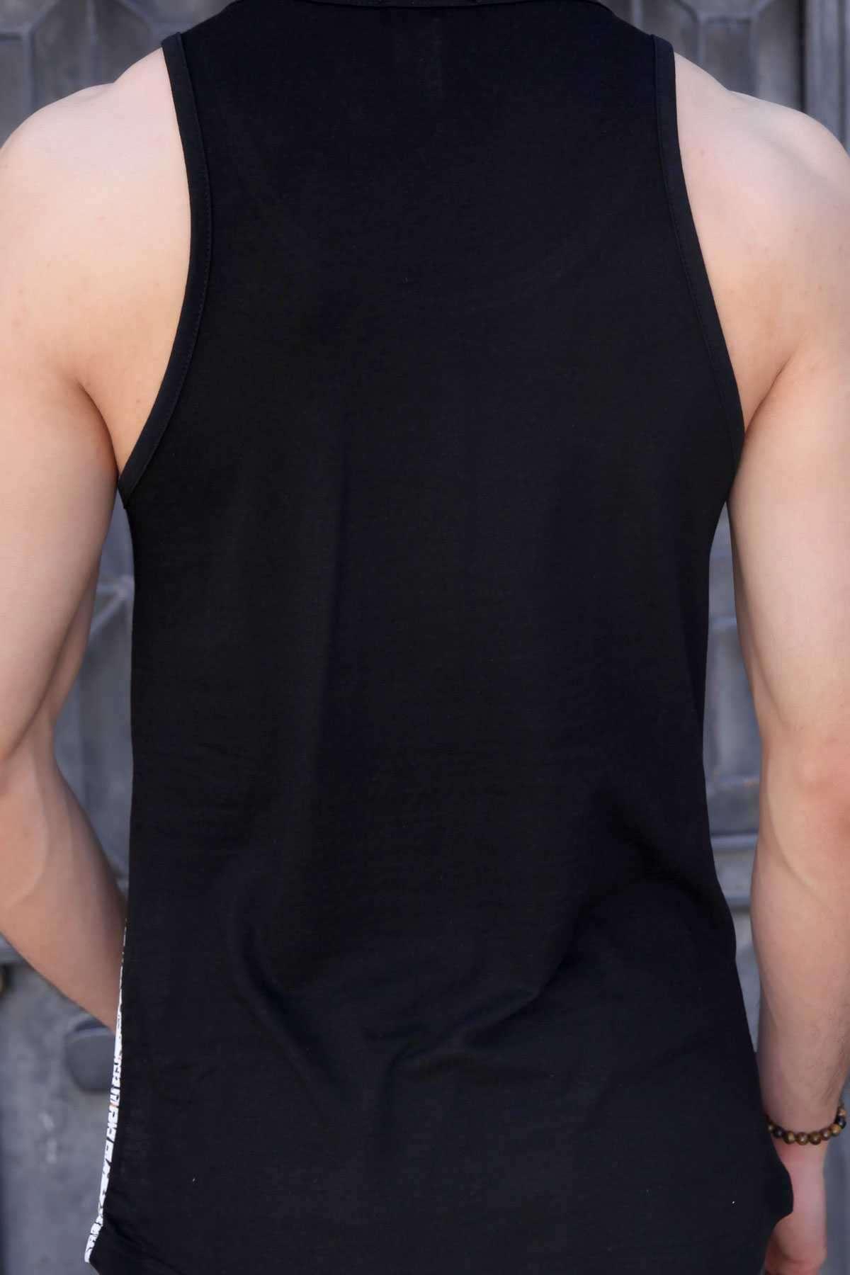Palm Yazılı Alt Palmiye Desenli Boyalı Fileli Atlet Siyah