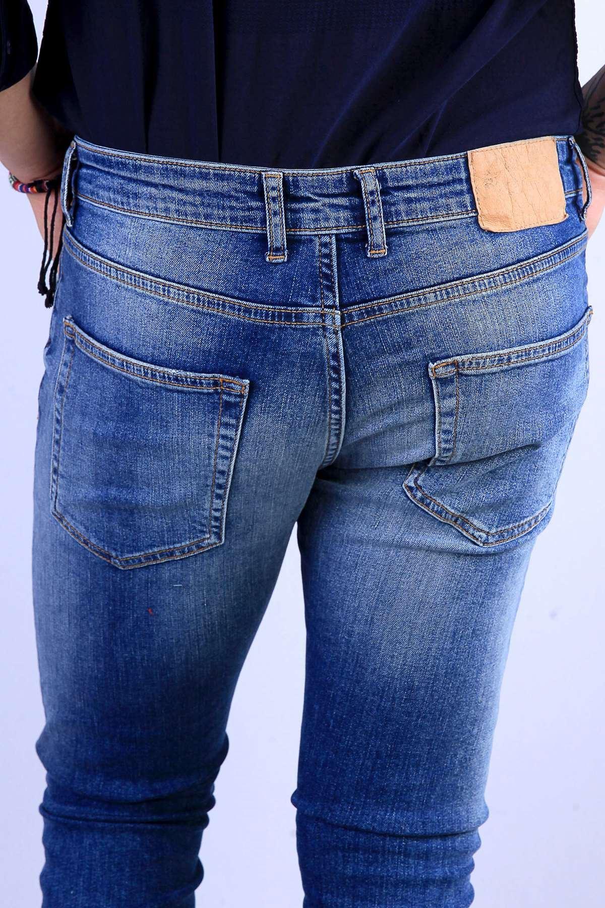 Paça Lazer Kesikli Diz İp Yamalı Taşlamalı Kot Pantolon Mavi