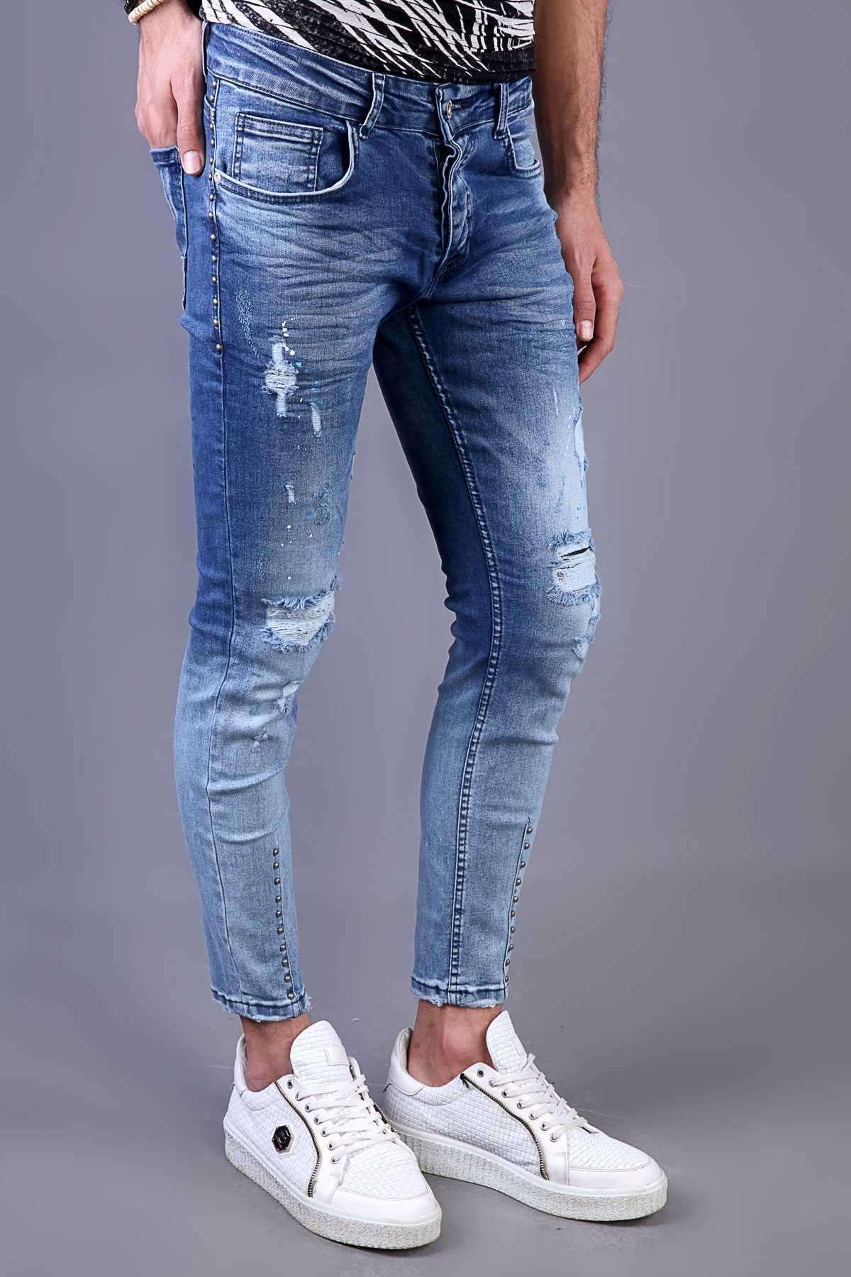 Paça Ucu Cep Yanı Metalli Boyalı Yırtıklı Slim Fit Kot Pantolon Mavi