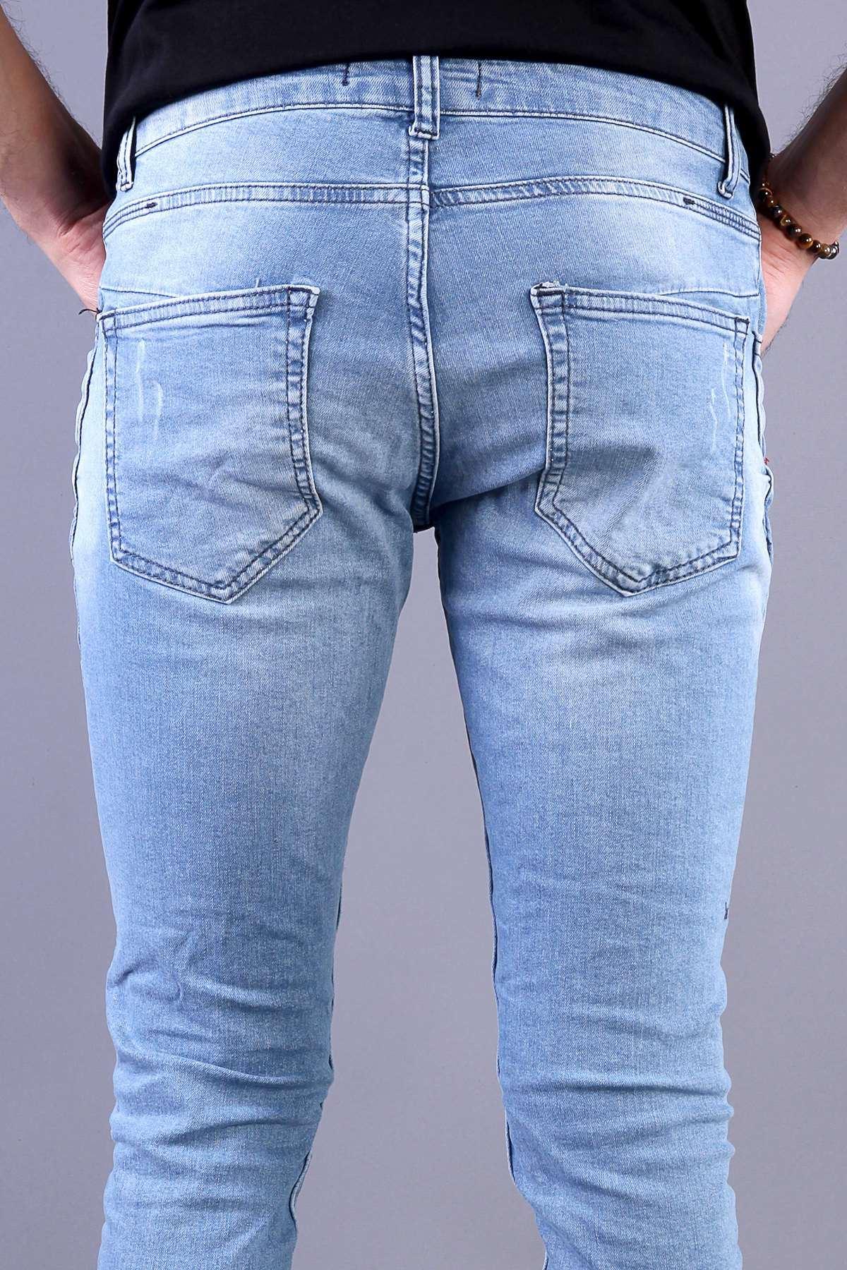 Paça Yan Fermuarlı Diz Yama Yırtıklı Bilek Boy Kot Pantolon Açık-Mavi