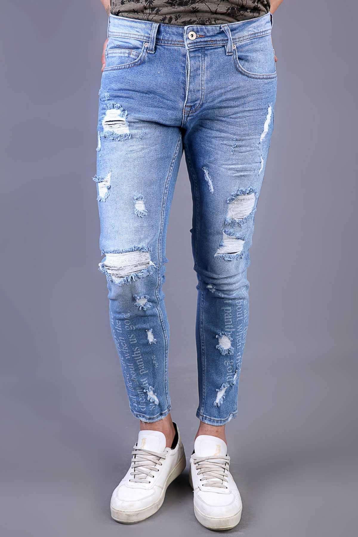 Paça Yazılı İp Yamalı Slim Fit Kot Pantolon Açık-Mavi