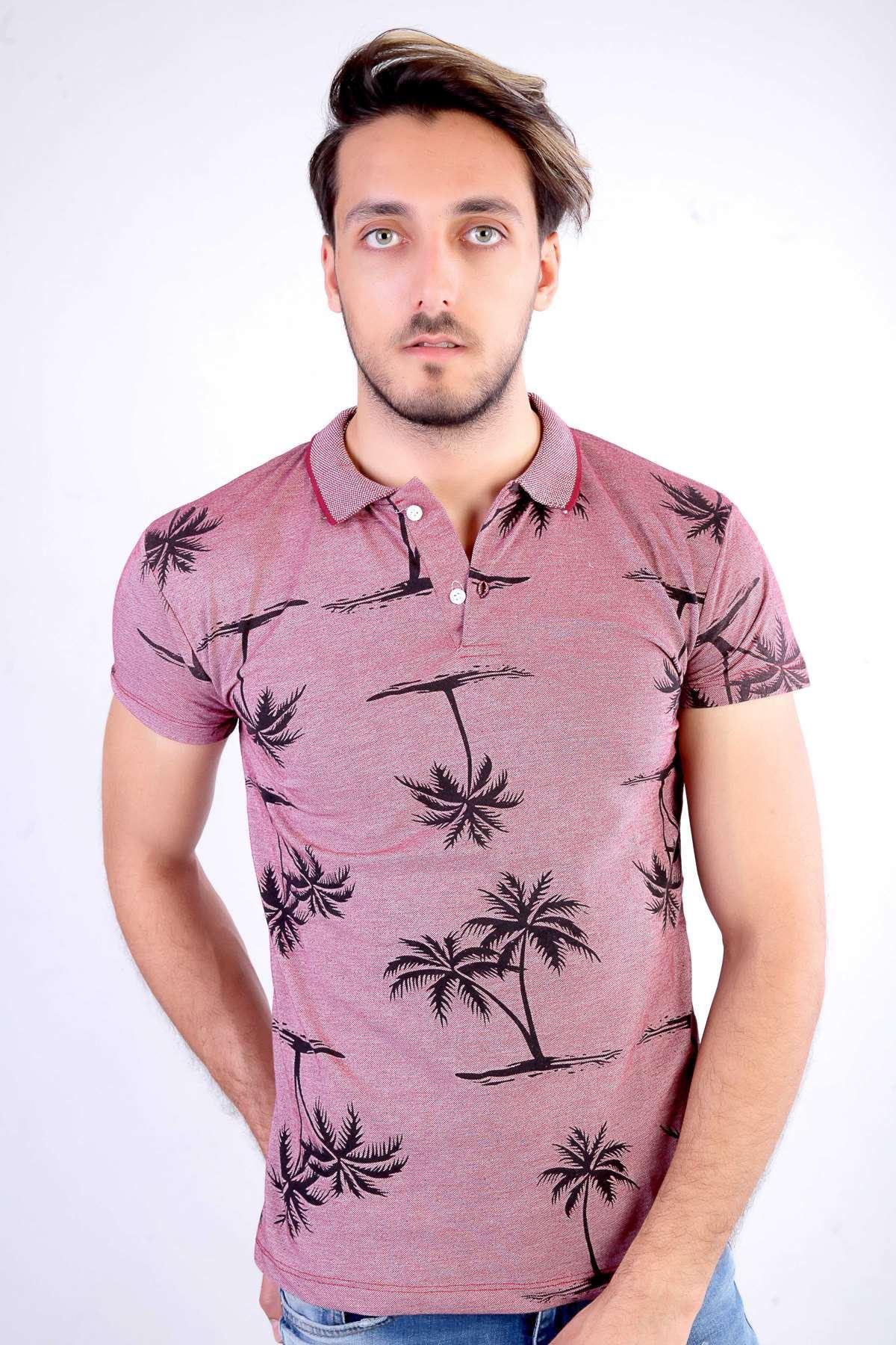 Palmiye Ağaç Baskılı Polo Yaka Tişört Bordo