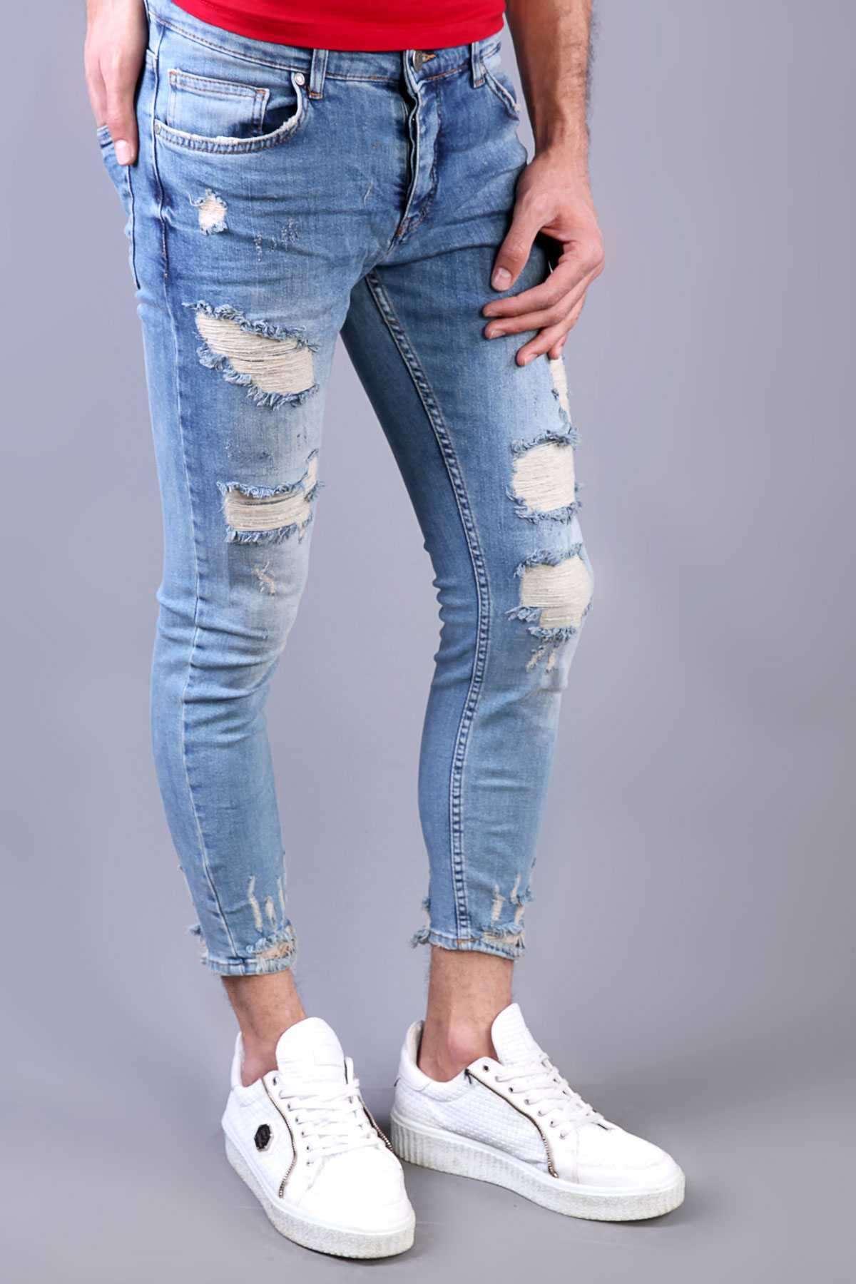 Paça Ucu Yırtık İp Yamalı Taşlamalı Bilek Boy Kot Pantolon Açık-Mavi