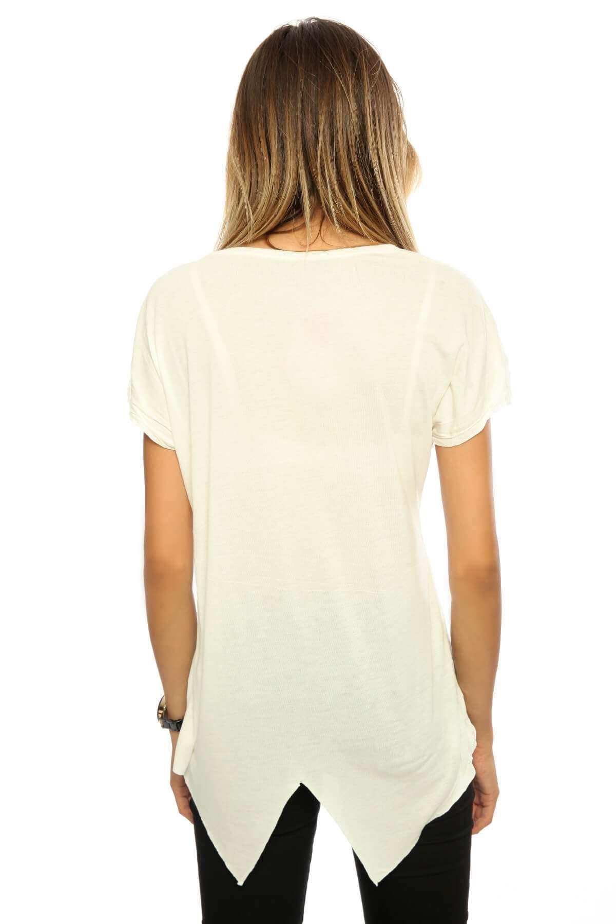 Önü Yazılı Altı Bağlamalı Salaş Tişört Beyaz