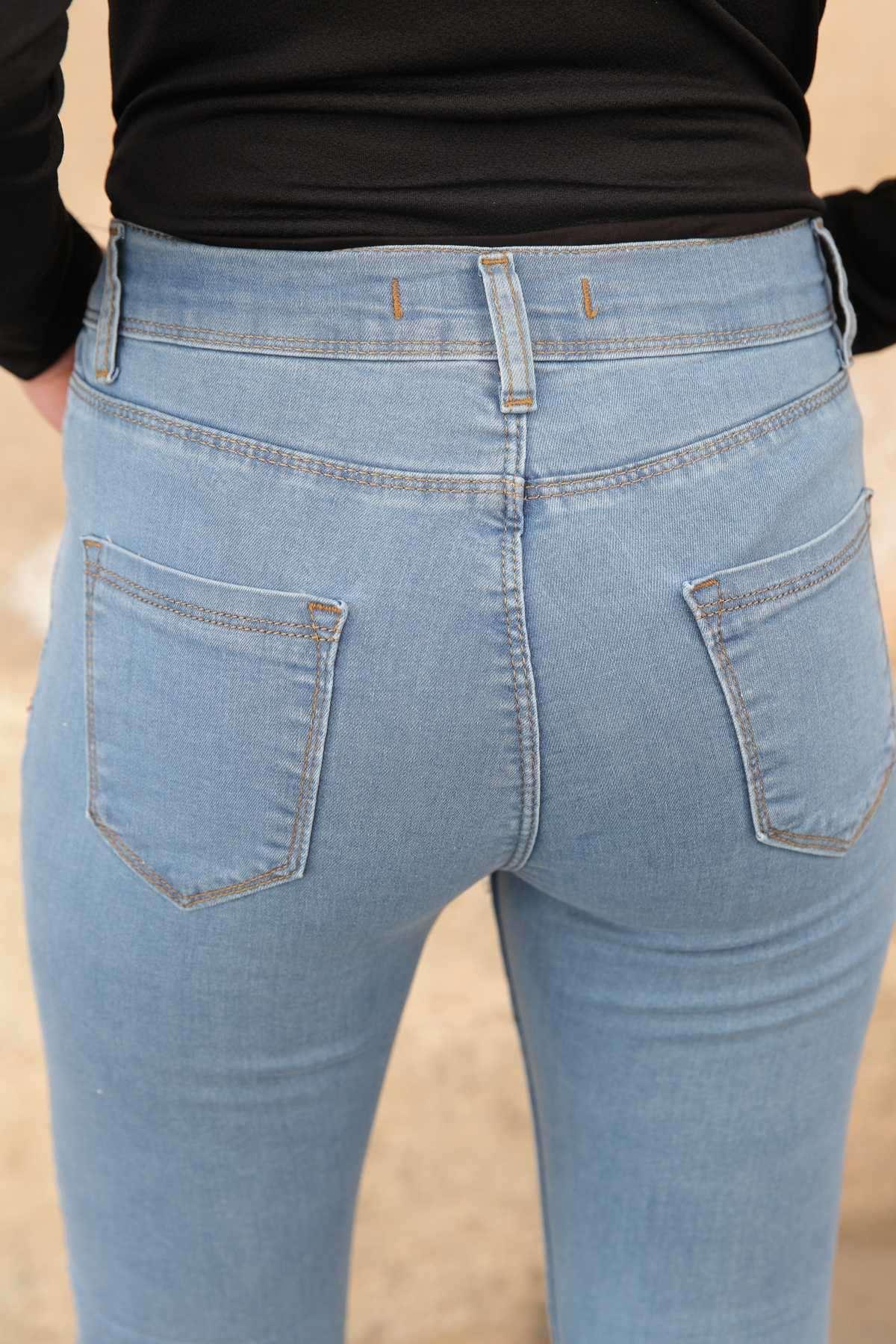 Paça Ucu Lazer Tırtıklu Püsküllü Slim Fit Kot Pantolon Mavi