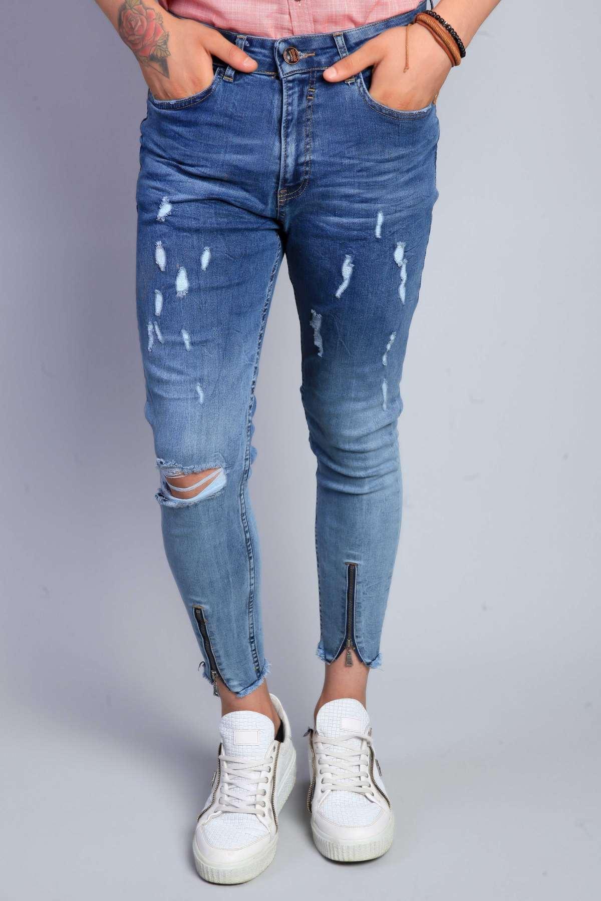 Paça Fermuarlı Diz Yırtıklı Bilek Boy Kot Pantolon Koyu-Mavi
