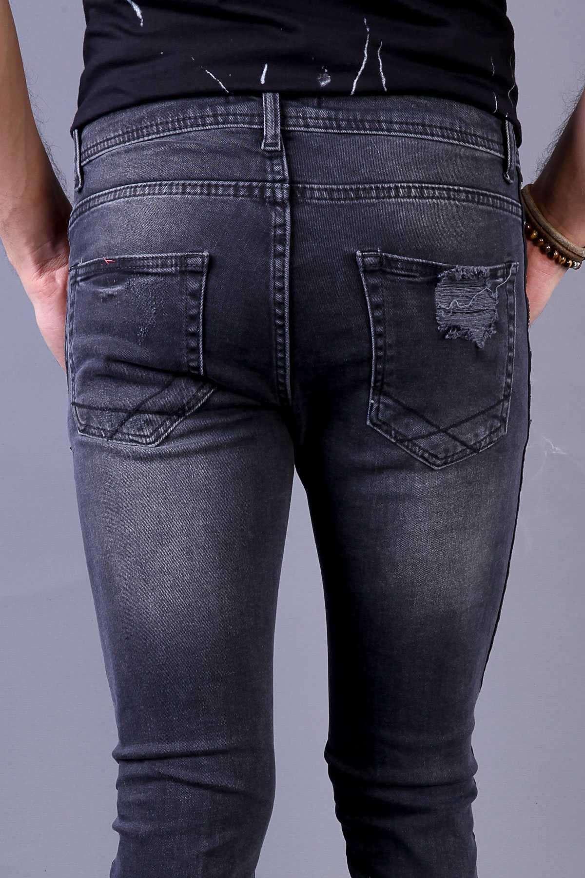 Paçası Yazılı Fermuarlı Dizleri Yırtık Slim Fit Kot Pantolon Antrasit