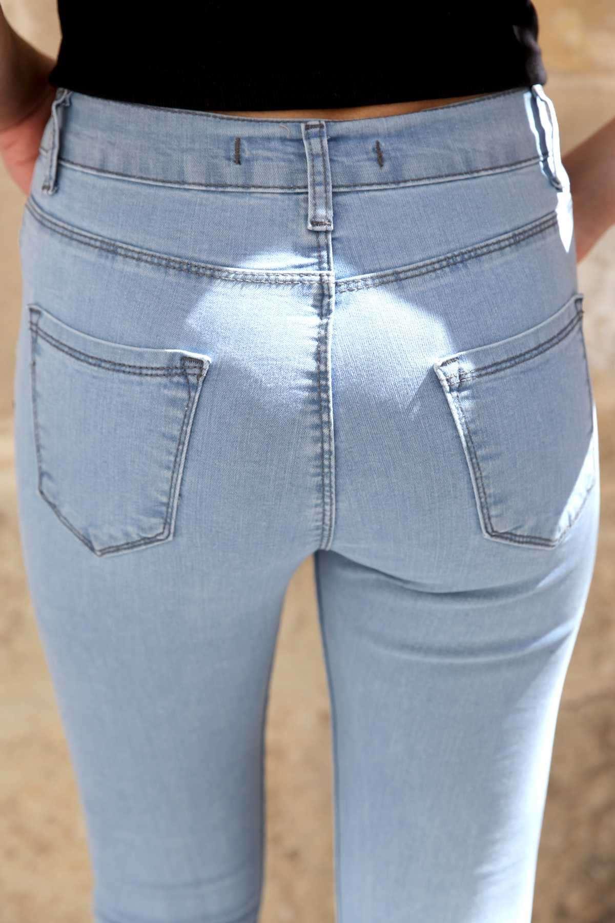 Paca Ucu Kesik Lazer Tırtıklı Slim Fit Kot Pantolon B.Mavi