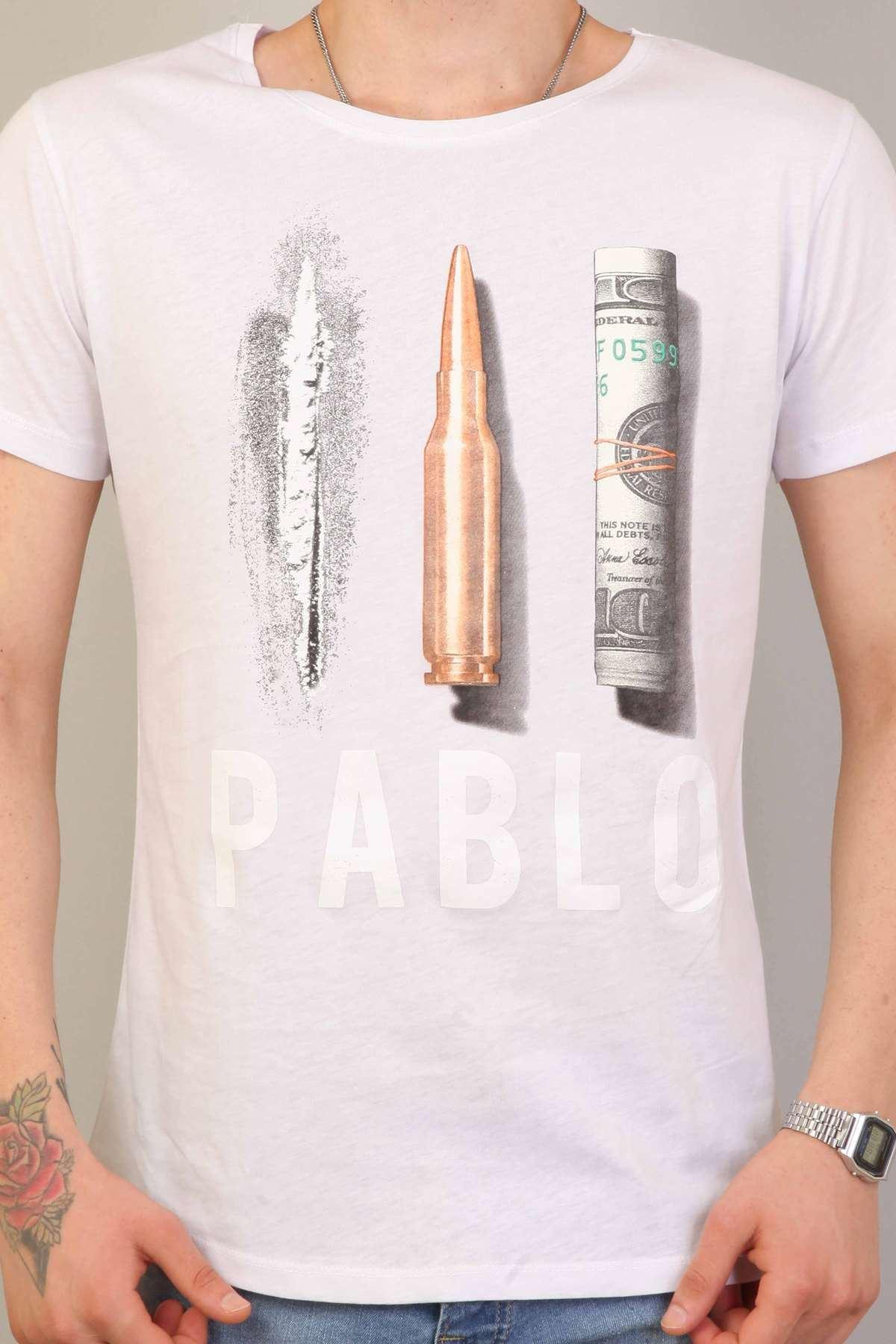 Pablo Yazılı Resim Baskılı Simit Yaka Tişört Beyaz