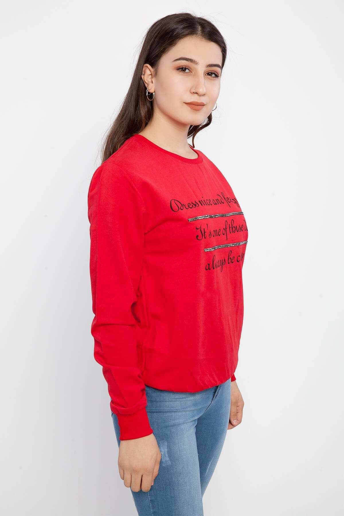 Önü Yazılı Taş Detaylı Sweatshirt Kırmızı