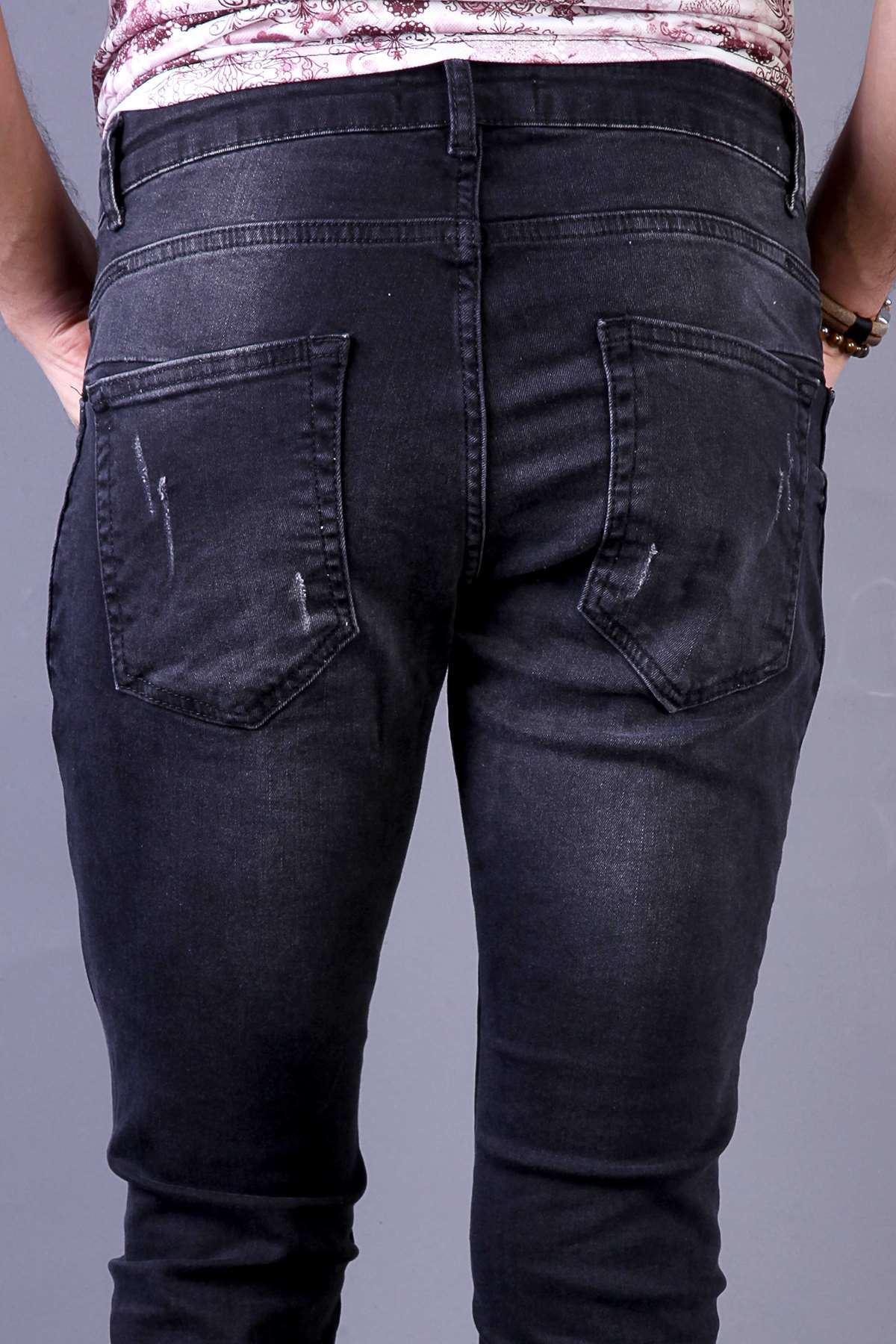 Paça Yan Fermuarlı Diz Yama Yırtıklı Bilek Boy Kot Pantolon Siyah