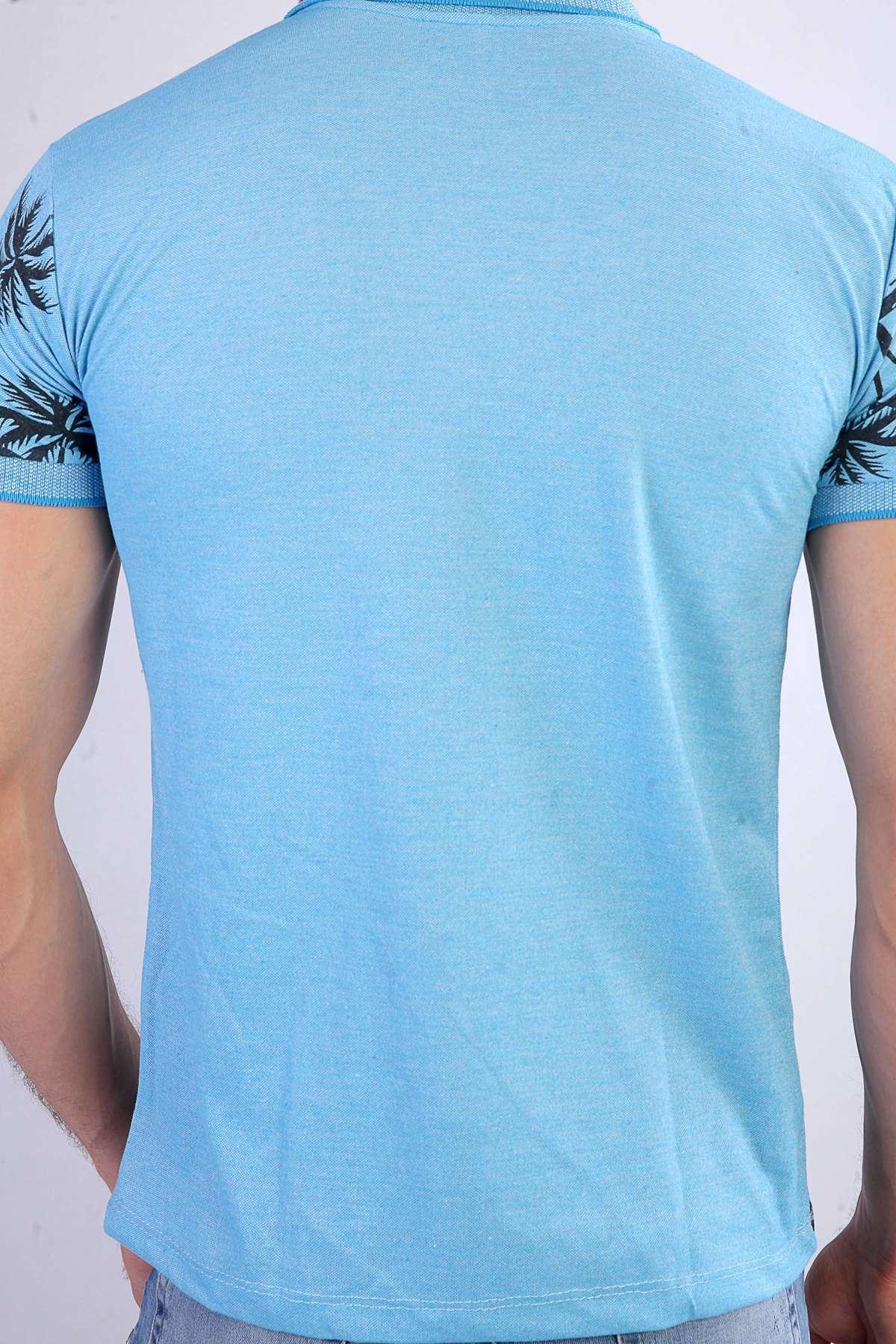 Palmiye Ağaç Baskılı Polo Yaka Tişört Mavi
