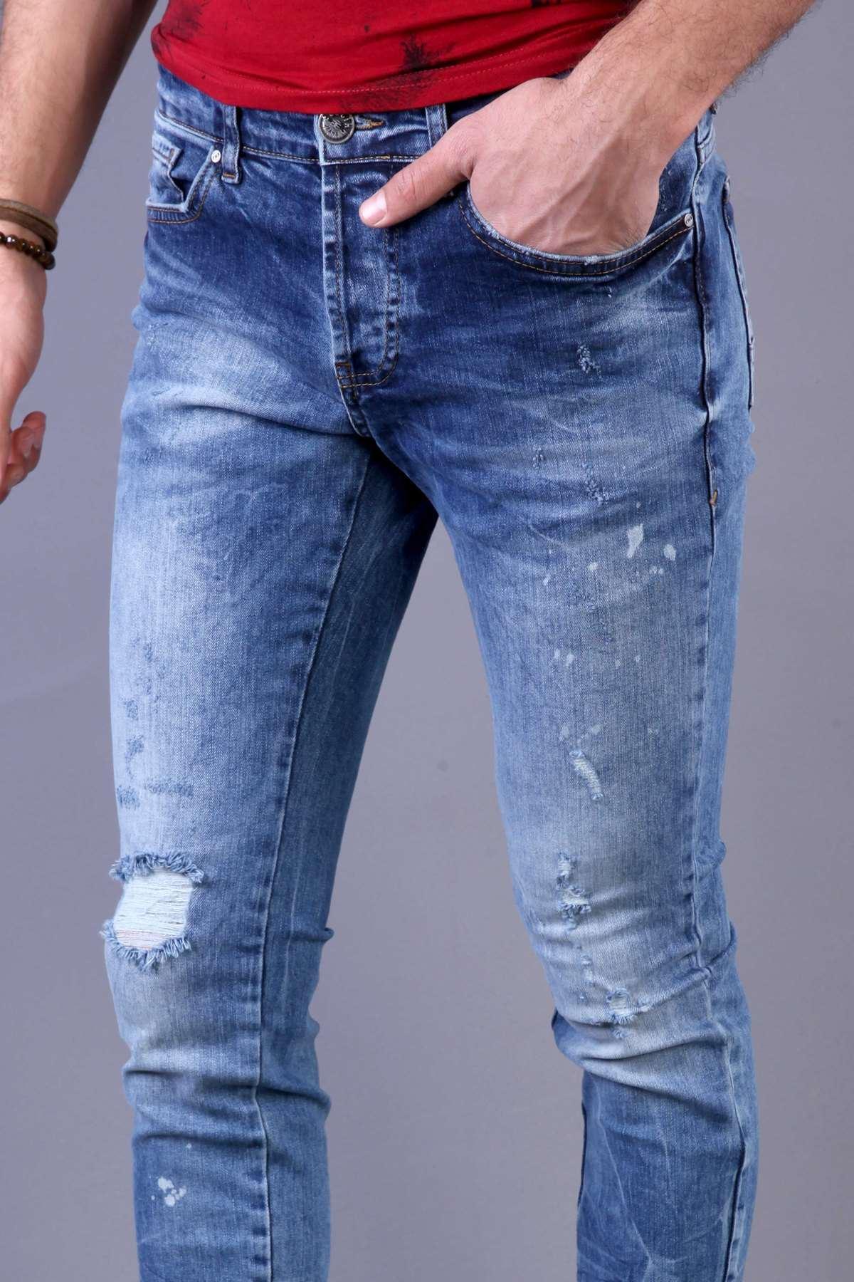 Paça Ucu Yırtıklı Üst Boyalı Taşlamalı Slim Fit Kot Pantolon Koyu-Mavi