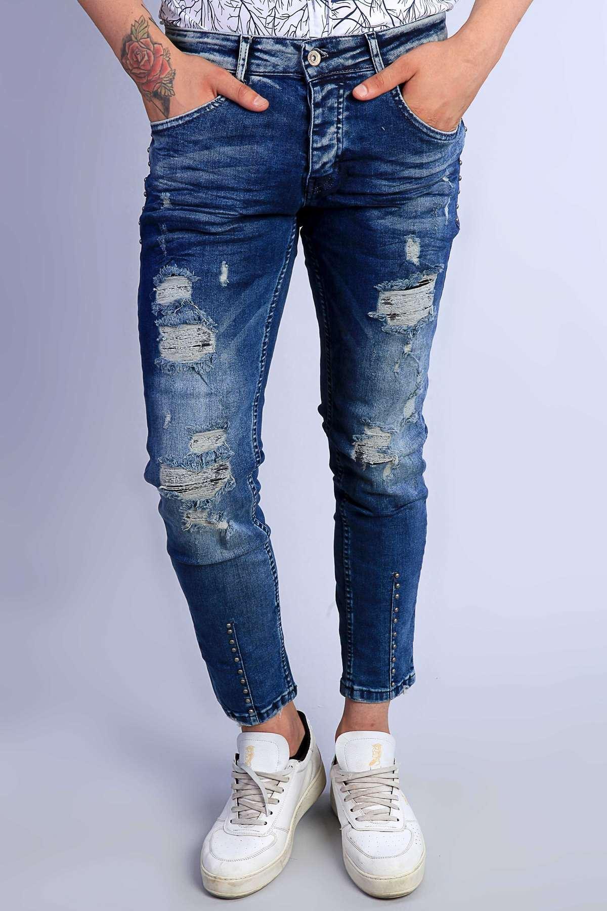 Paça Ucu Cep Yanı Metalli Püskül Yırtıklı Slim Fit Kot Pantolon Lacivert