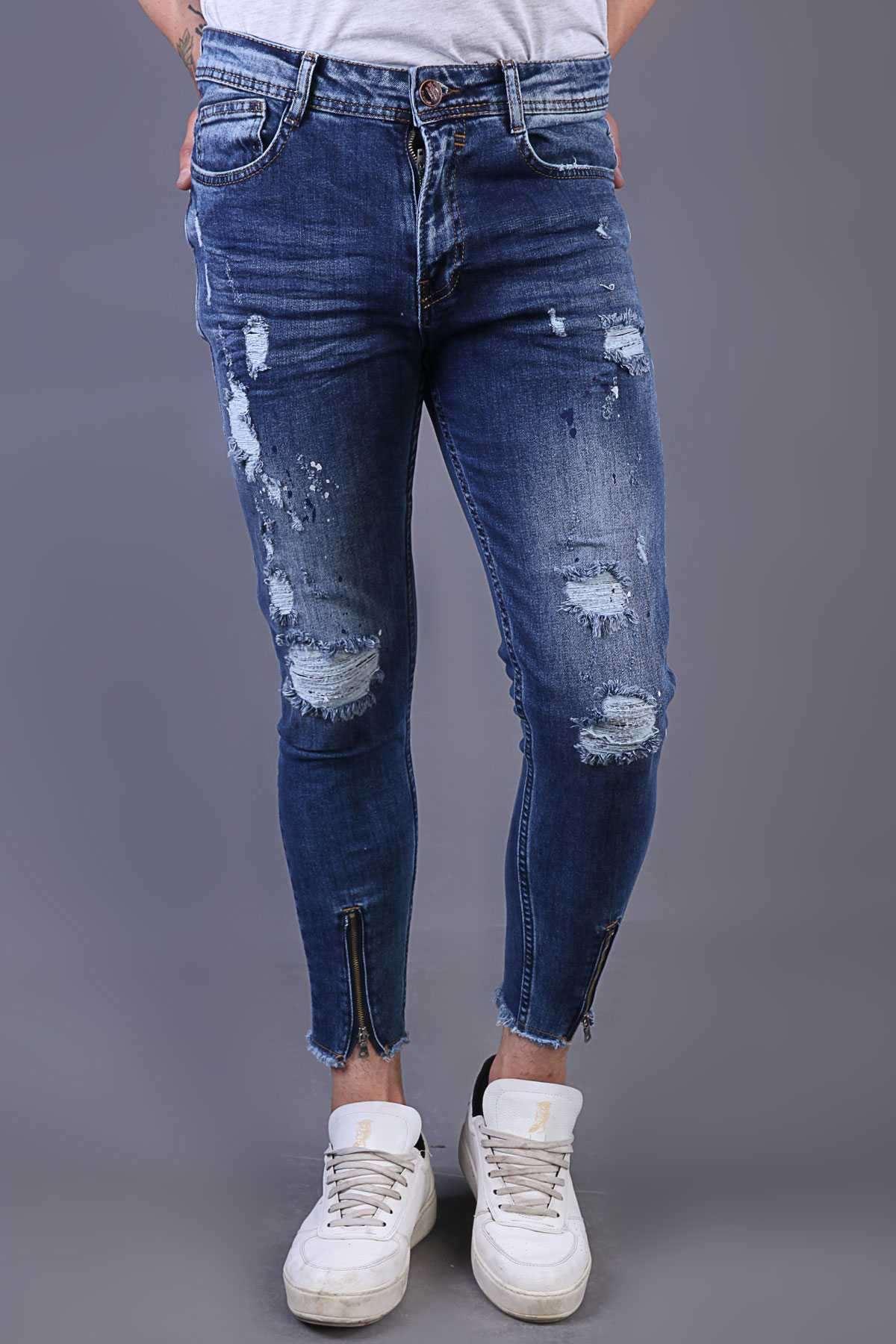 Paça Fermuarlı Diz Yırtıklı Sıçratma Boyalı Slim Fit Kot Pantolon Lacivert