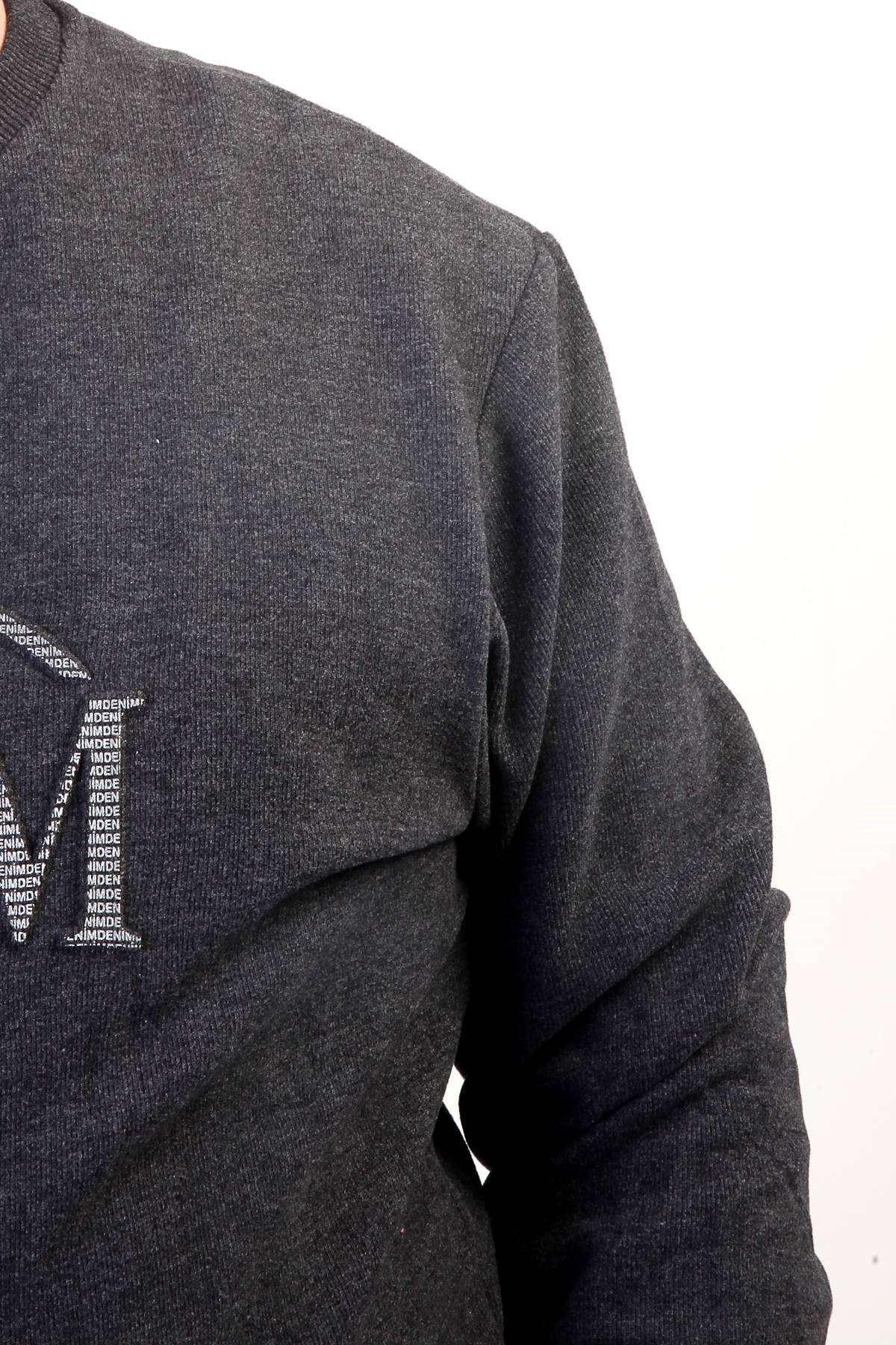 Önü Yazılı Bisiklet Yaka Selanik Süper Battal Sweatshirt Antrasit