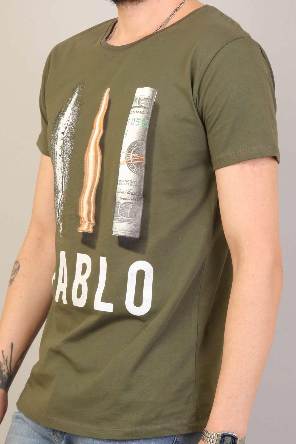 Pablo Yazılı Resim Baskılı Simit Yaka Tişört Haki