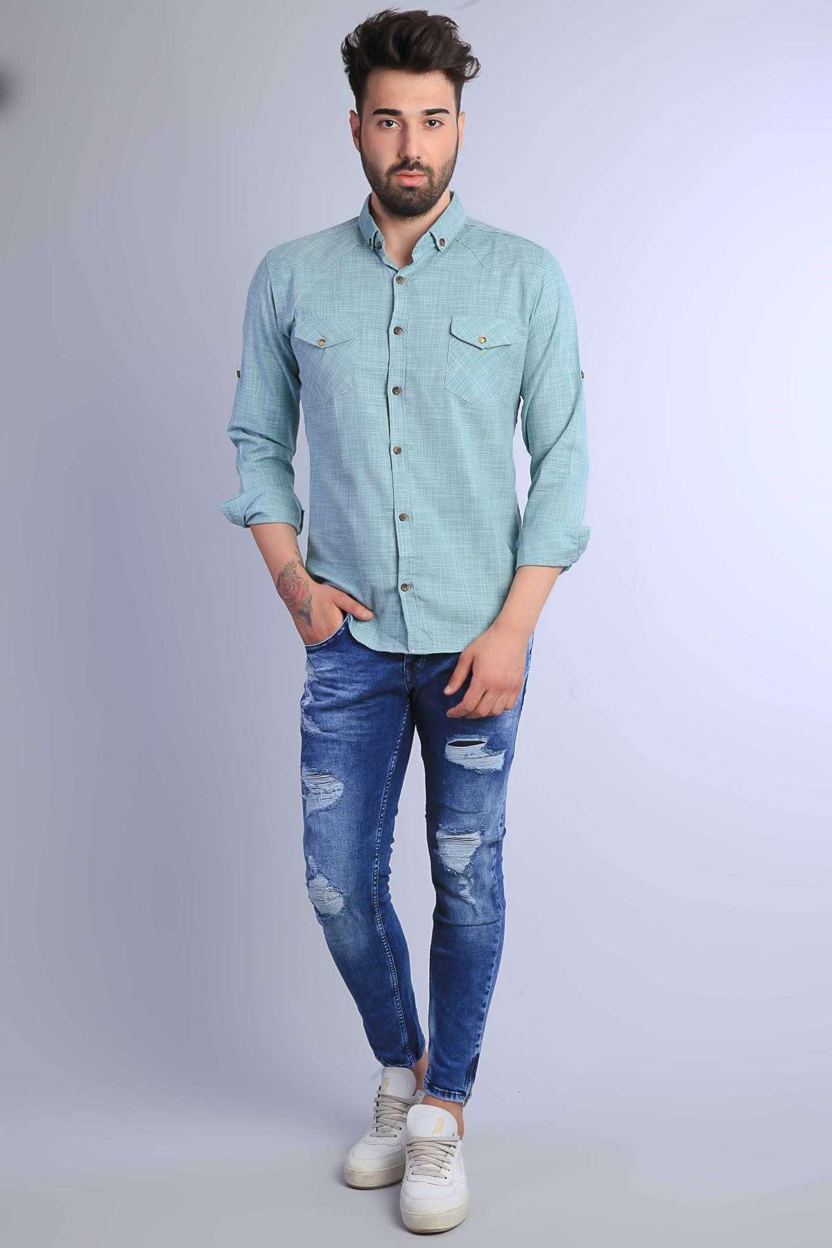 Paça Yanı Kısa Fermuarlı Diz Yırtıklı Slim Fit Kot Pantolon Mavi