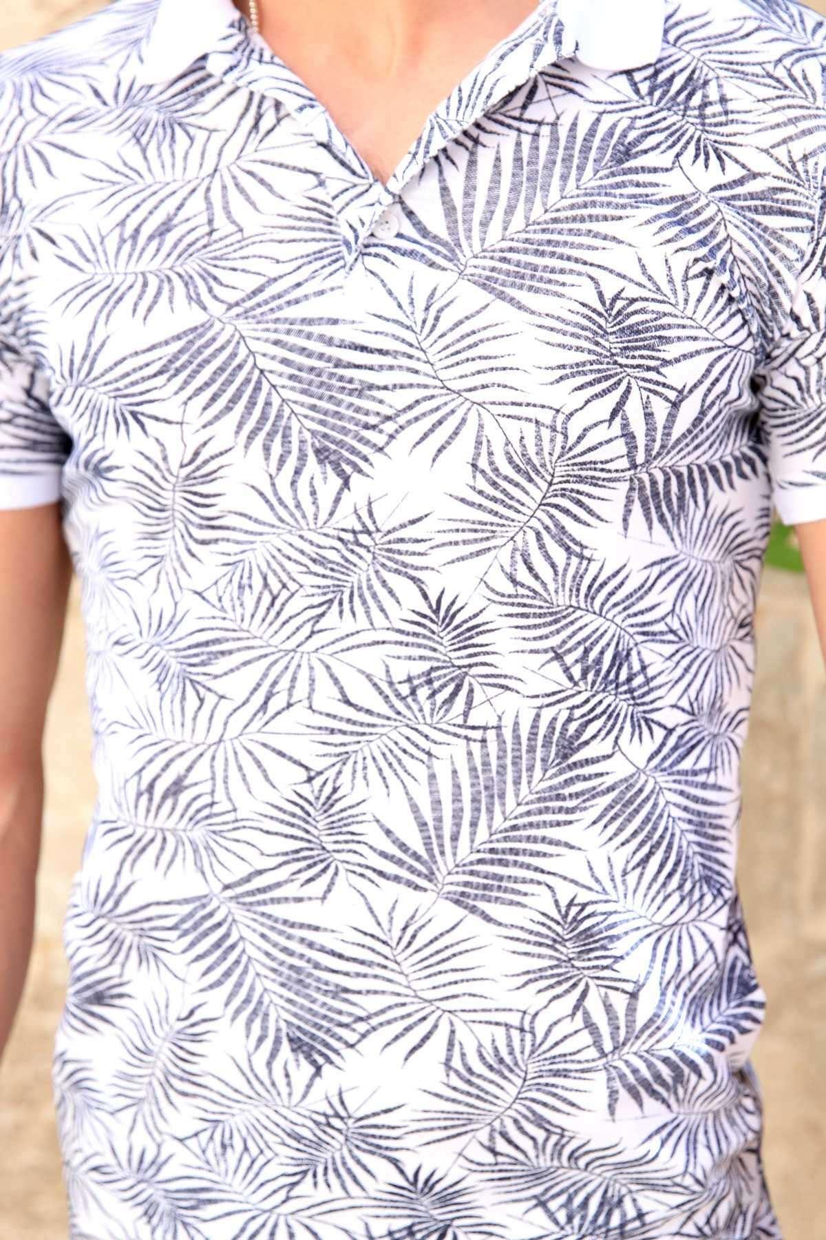 Palmiye Yaprak Baskılı Polo Yaka Silim Fit Tişört Beyaz