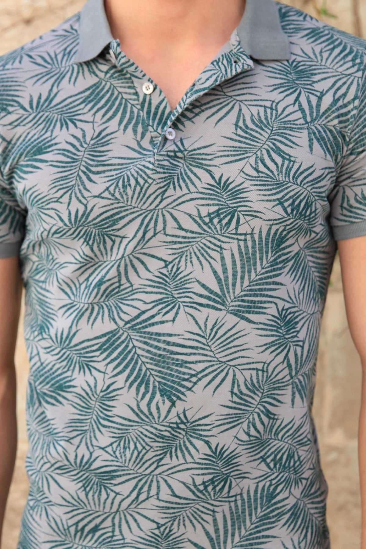 Palmiye Yaprak Baskılı Polo Yaka Silim Fit Tişört Gri