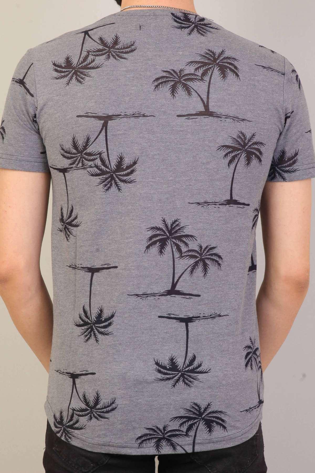 Palmiye Yaprak Baskılı Sıfır Yaka Silim Fit Tişört Füme