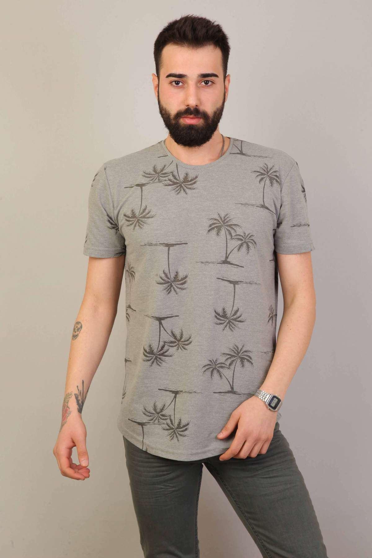 Palmiye Yaprak Baskılı Sıfır Yaka Silim Fit Tişört Haki