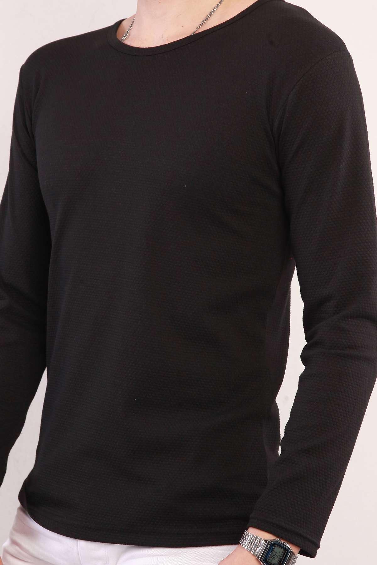 Petek Desen 0 Yaka Sweatshirt Siyah