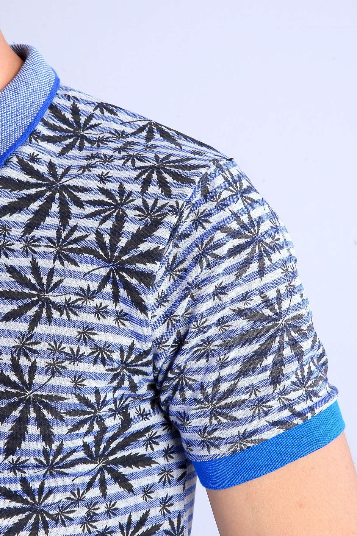 Palmiye Yaprak Desenli Polo Yaka Tişört Mavi