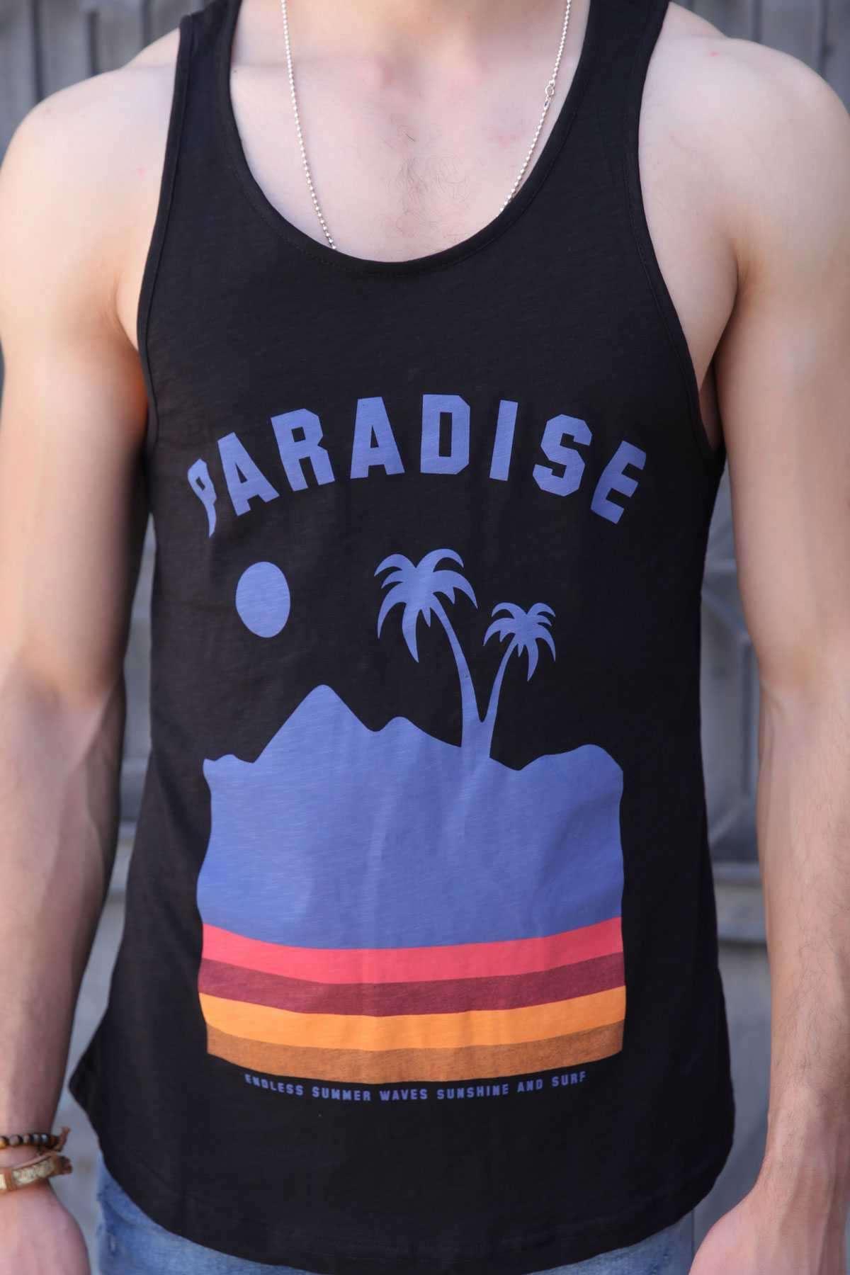 Paradise Yazılı Palmiye Baskılı Slim Fit Atlet Siyah