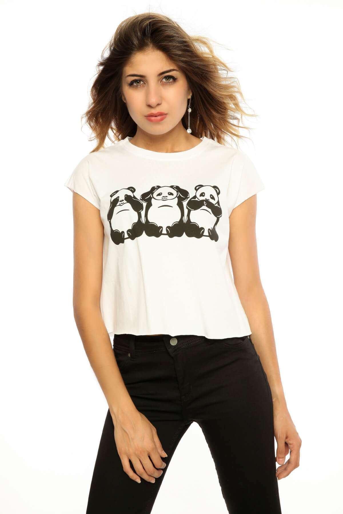 Panda Baskılı Kısa Salaş Tişört Beyaz