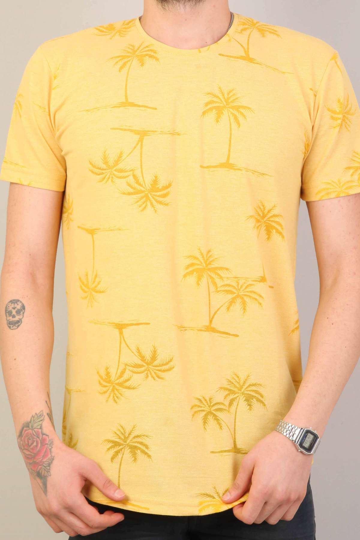 Palmiye Yaprak Baskılı Sıfır Yaka Silim Fit Tişört Sarı